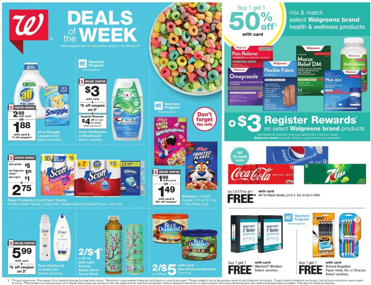Walgreens Flyer - 08.23.2020 - 08.29.2020 - Sales products - Scott, rolls, milk, marshmallows, Kellogg's, Pop-Tarts, Thins, cereals, Frosted Flakes, honey, almonds, Blue Diamond, Coca-Cola, Pepsi, soda, AriZona, green tea, tea, bath tissue, Kleenex, kitchen towels, paper towels, Snuggle, Bold, Dove, toothpaste, mouthwash, Crest, anti-perspirant, deodorant, BIC, binder, rubber, PaperMate, Sharpie, multivitamin, ginseng. Page 1.