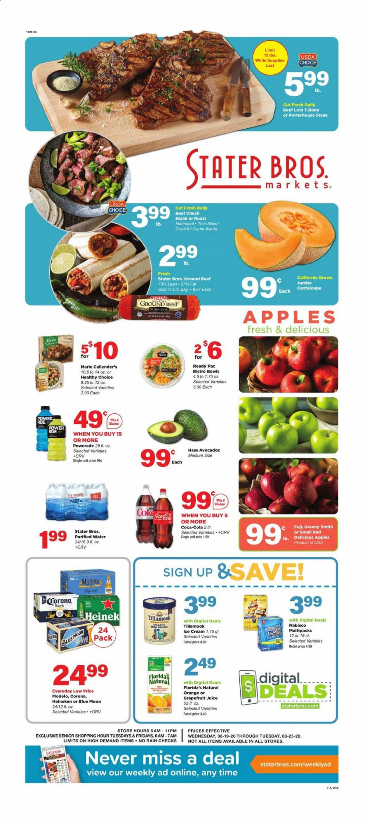 Stater Bros. Flyer - 08.19.2020 - 08.25.2020 - Sales products - apples, avocado, beef meat, cantaloupe, Coca-Cola, ground beef, red delicious, ice cream, powerade, orange, steak, juice, corona, Blue Moon, purified water, Apple. Page 1.