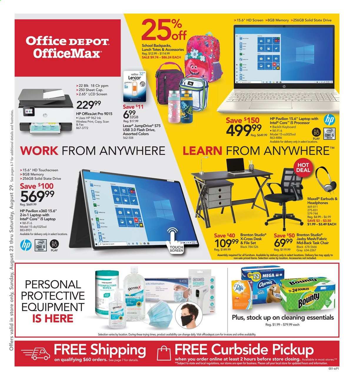 Office DEPOT Flyer - 08.23.2020 - 08.29.2020 - Sales products - cap, flash drive, Furniture, laptop, moisturizing, sheet, solid, task chair, wifi, wipes, HP, chair, Intel, keyboard, officejet, Bounty, pavilion, USB, headphones, essentials. Page 1.
