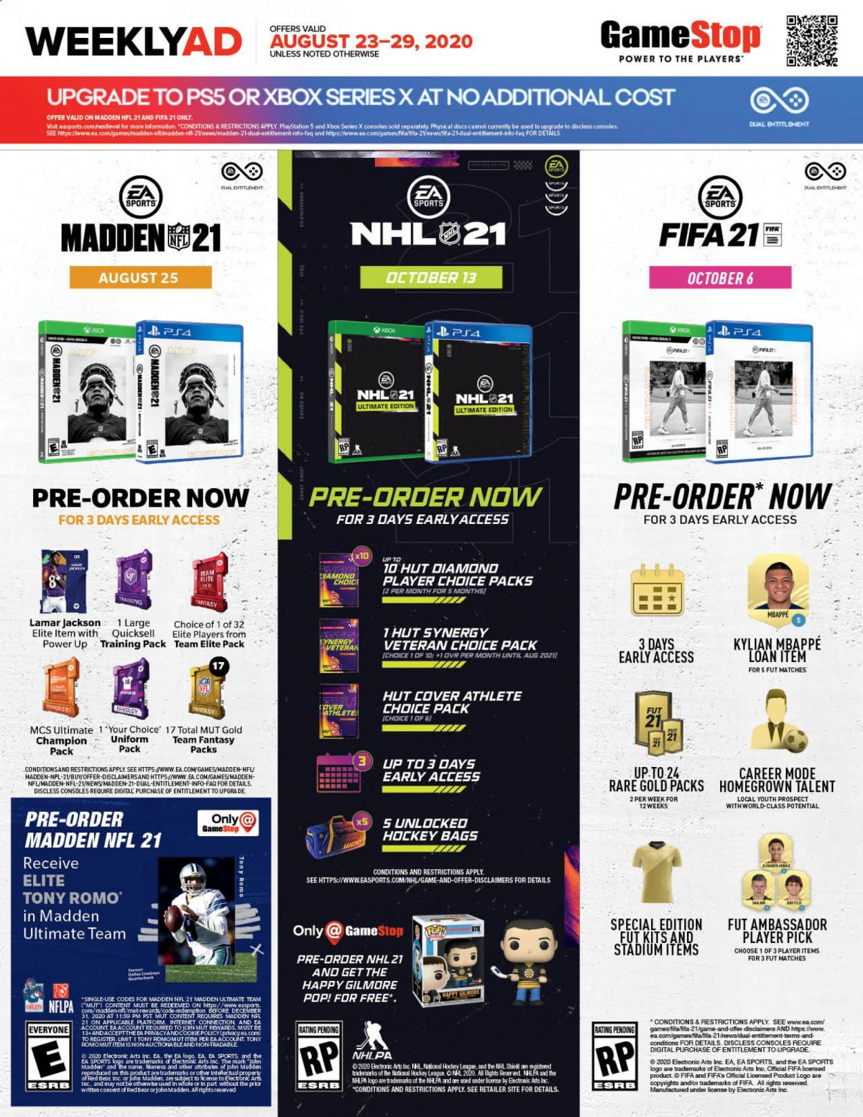 GameStop Flyer - 08.23.2020 - 08.29.2020 - Sales products - bag, rare, champion, playstation, game, player, hockey, nhl, madden nfl, xbox. Page 1.