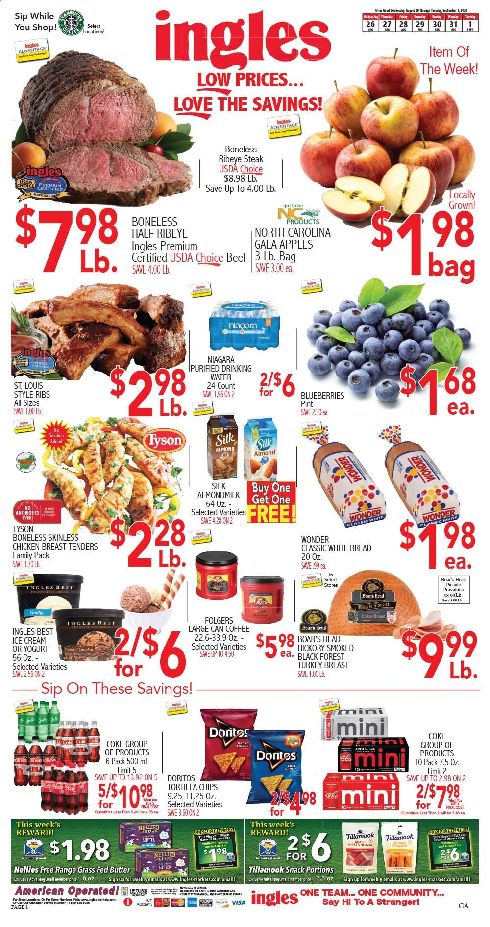 Ingles Flyer - 08.26.2020 - 09.01.2020 - Sales products - blueberries, Gala, bread, white bread, cheese, butter, ice cream, Doritos, tortilla chips, chips, snack, Coca-Cola, water, coffee, Folgers, turkey, turkey breast, chicken, chicken breast, beef meat, steak, ribs. Page 1.