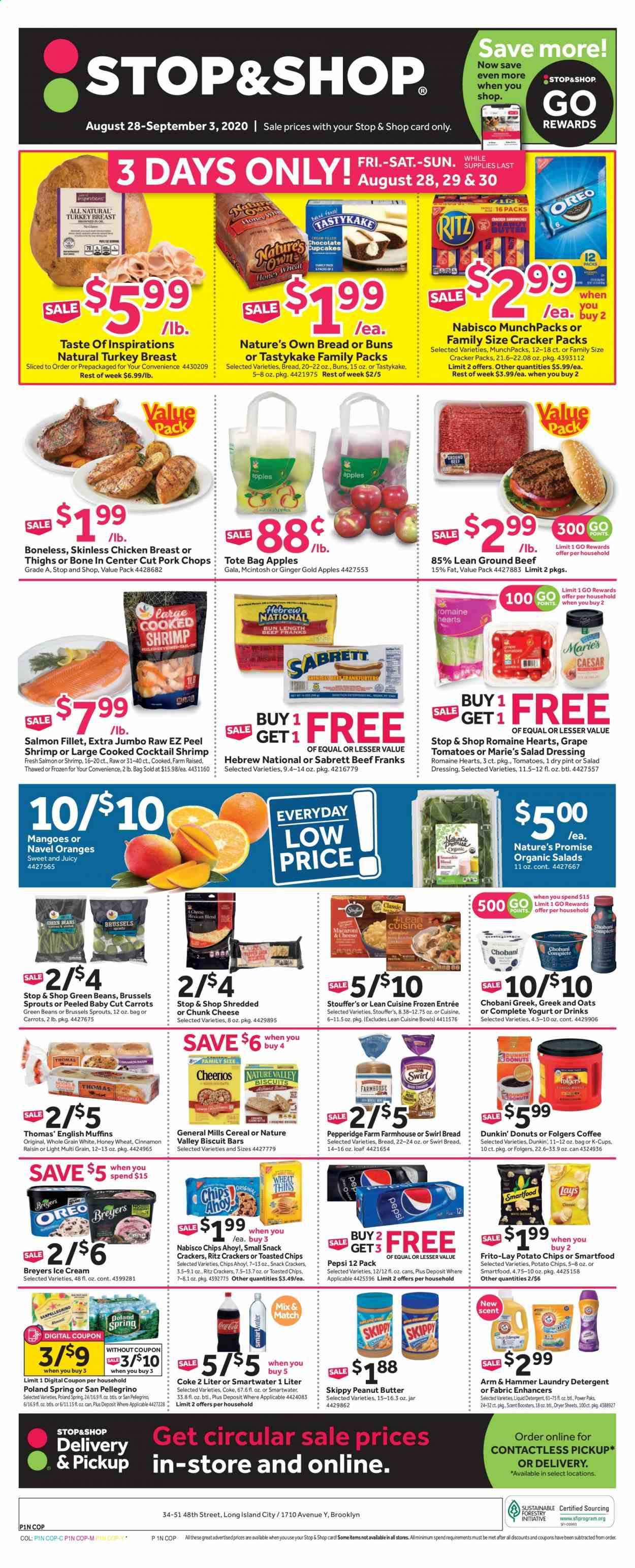 Stop & Shop Flyer - 08.28.2020 - 09.03.2020 - Sales products - apples, ARM & HAMMER, beans, beef meat, bread, brussels sprouts, carrots, cereals, Coca-Cola, detergent, frozen, ginger, grapes, green beans, ground beef, mango, salad dressing, salmon, salmon fillet, tomatoes, turkey, turkey breast, honey, ice cream, jar, pork chops, pork meat, potato chips, chicken, chicken breast, peanut butter, Pepsi, oats, orange, chips, cheese, dressing, snack, hammer, tote, salad, cracker, liquid detergent, laundry detergent, Folgers, Apple, shrimps, donut, spring. Page 1.