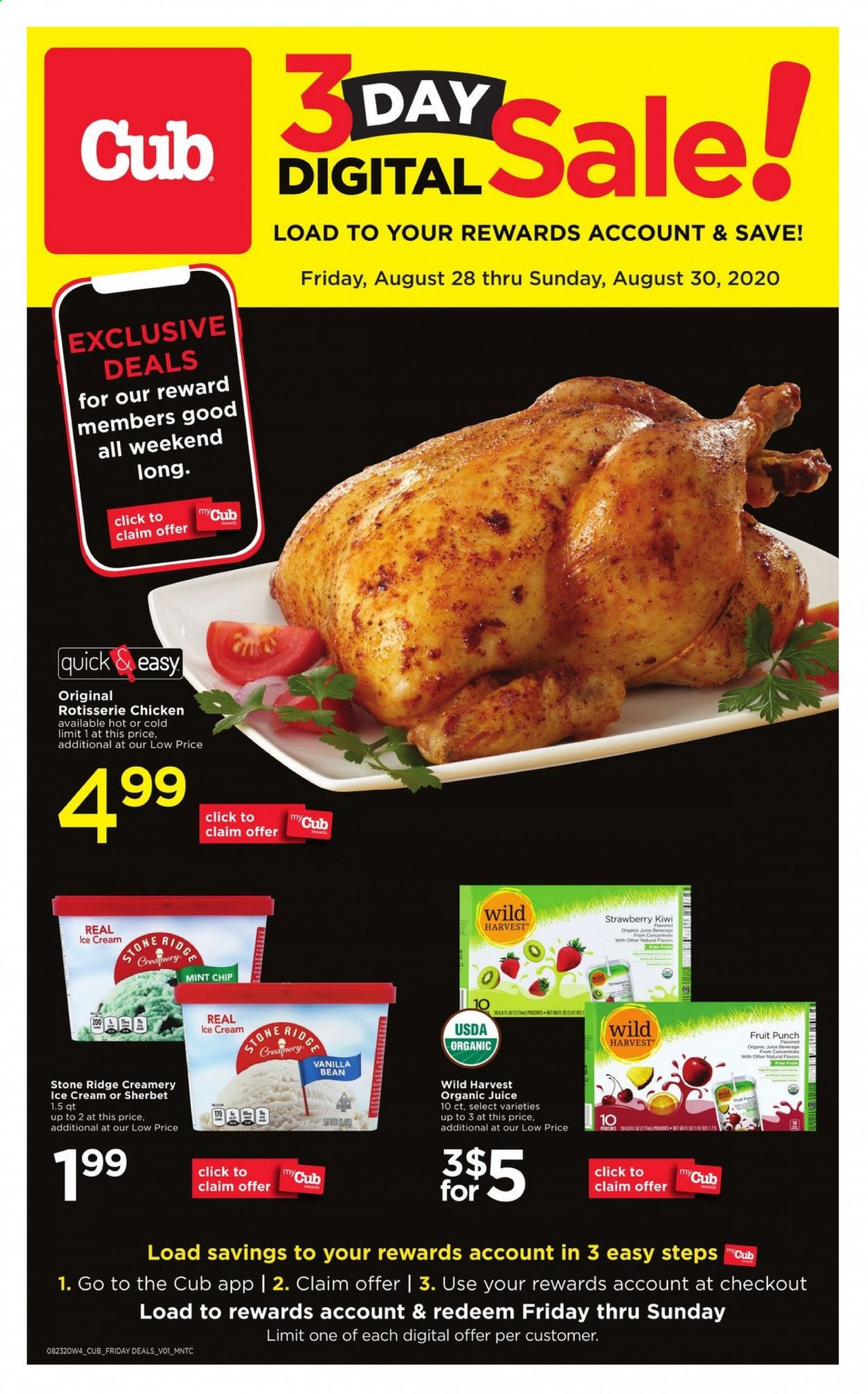 Cub Foods Flyer - 08.28.2020 - 08.30.2020 - Sales products - kiwi, mint, ice cream, chicken, organic, juice, sherbet, punch, strawberry, fruit. Page 1.