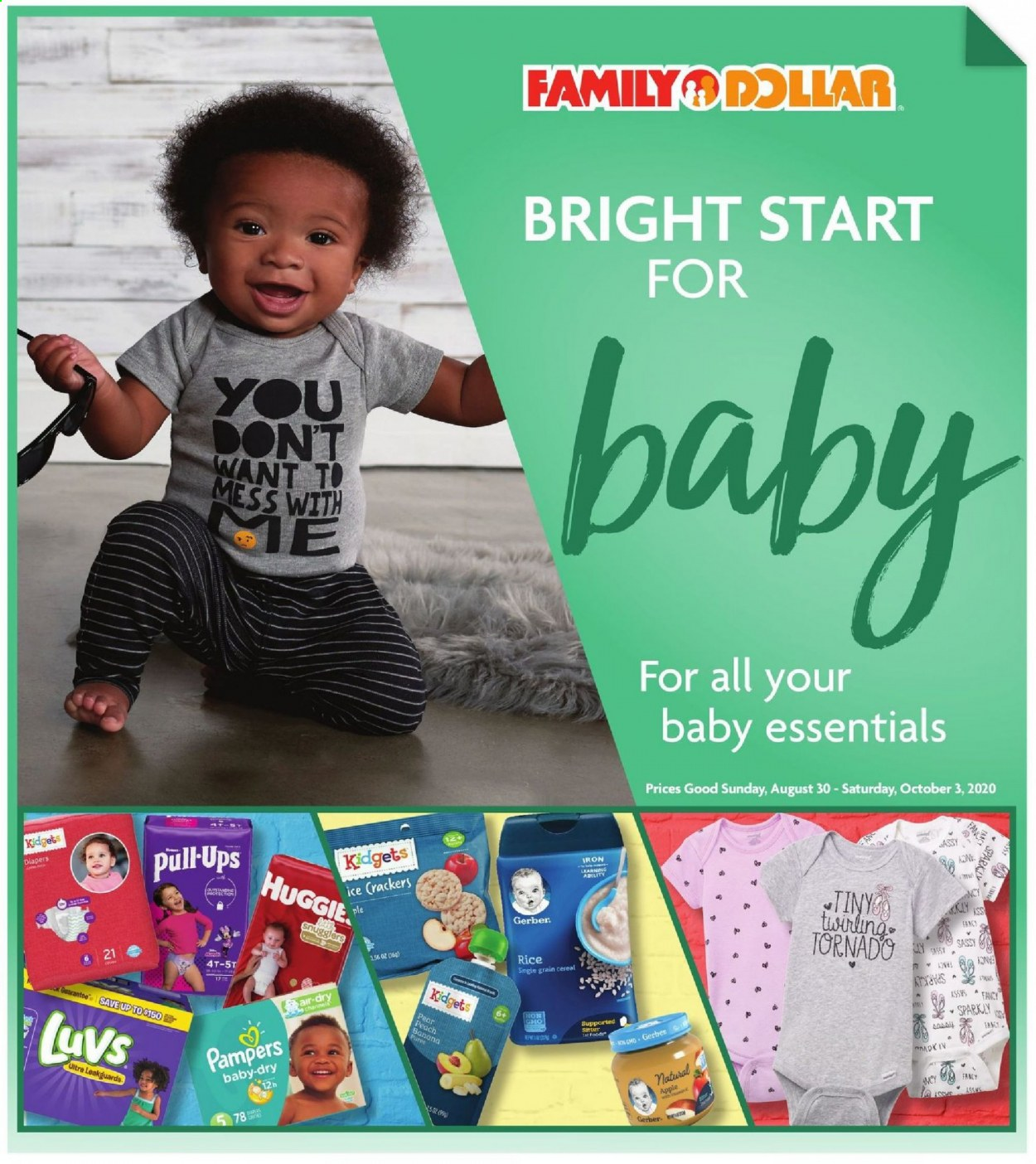 Family Dollar Flyer - 08.30.2020 - 10.03.2020 - Sales products - apples, cereals, Gerber, rice, Channel, iron, Pampers, diapers, Apple, essentials. Page 1.
