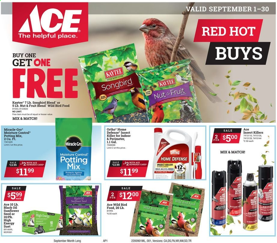 ACE Hardware Flyer - 09.01.2020 - 09.30.2020 - Sales products - seed, sunflower, insect killer, oil, moisture. Page 1.