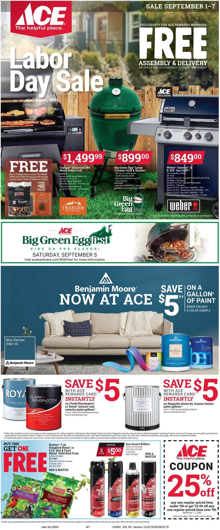 ACE Hardware Flyer - 09.01.2020 - 09.07.2020 - Sales products - gas grill, grill, smoker, Weber, pellet grill, pellet, paint. Page 1.