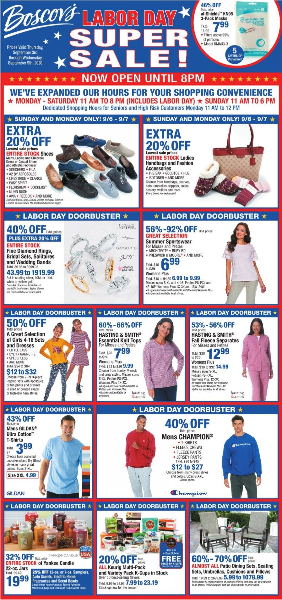 Boscov's Flyer - 09.03.2020 - 09.09.2020 - Sales products - Adidas, apples, box, candle, dress, Fila, Reebok, scarve, shirt, shoes, slippers, socks, solid, wallet, Yankee Candle, handbag, hat, Champion, jar, jersey, pillow, pumpkin, pants, Patio, Footwear, diamond ring, Apple. Page 1.
