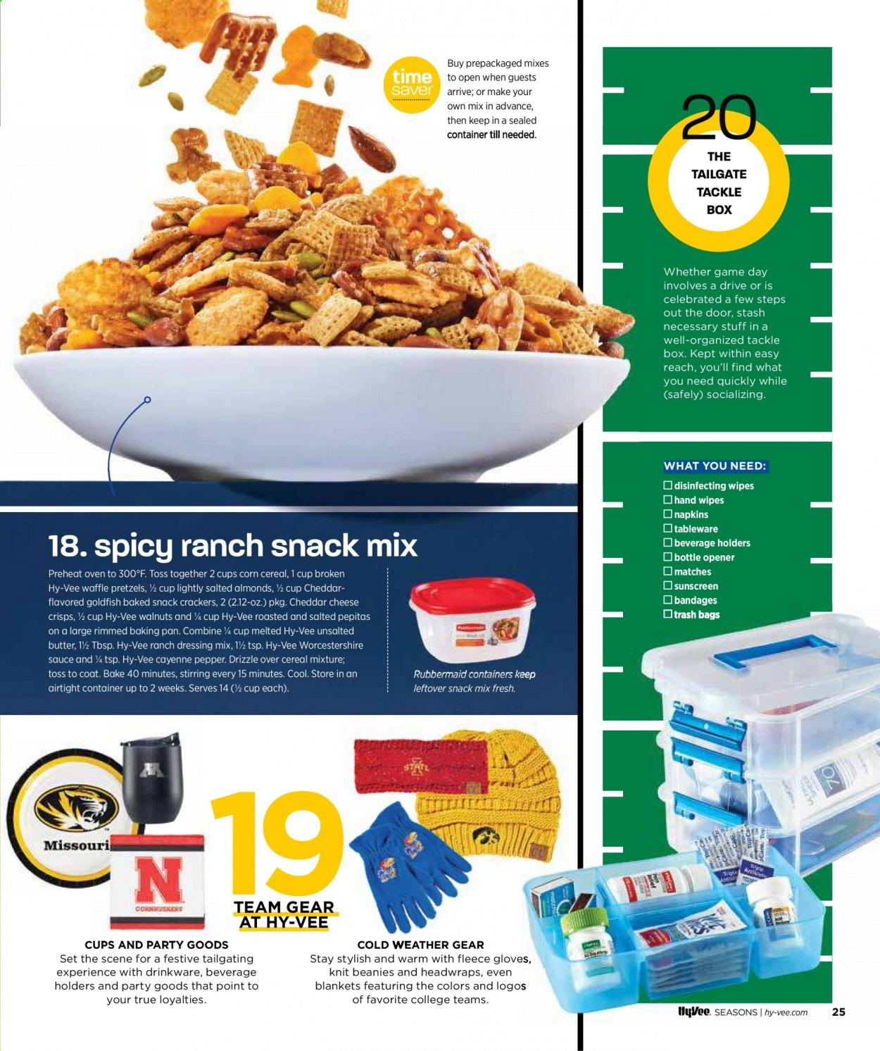 Hy-Vee Flyer - 09.01.2020 - 09.30.2020 - Sales products - almonds, bag, beanie, blanket, bowl, box, butter, cereals, coat, container, cookies, corn, crackers, cup, door, drinkware, gloves, ranch dressing, shirt, spatula, tableware, thermometer, tong, trash bag, tray, walnuts, wipes, worcestershire sauce, holder, plate, pretzels, cheddar, pan, oven, paper plate, cheese, game, dressing, pepper, snack, cereal, sauce, gear, napkins, cool, barbecue, bottle opener, trash bags, tools, doors. Page 27.