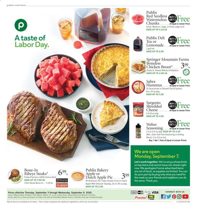Publix Flyer - 09.03.2020 - 09.09.2020 - Sales products - apple pie, beef meat, lemonade, shredded cheese, tea, watermelon, weber, hummus, chicken, chicken breast, cheese, dessert, pie, salt, topping, guacamole. Page 1.