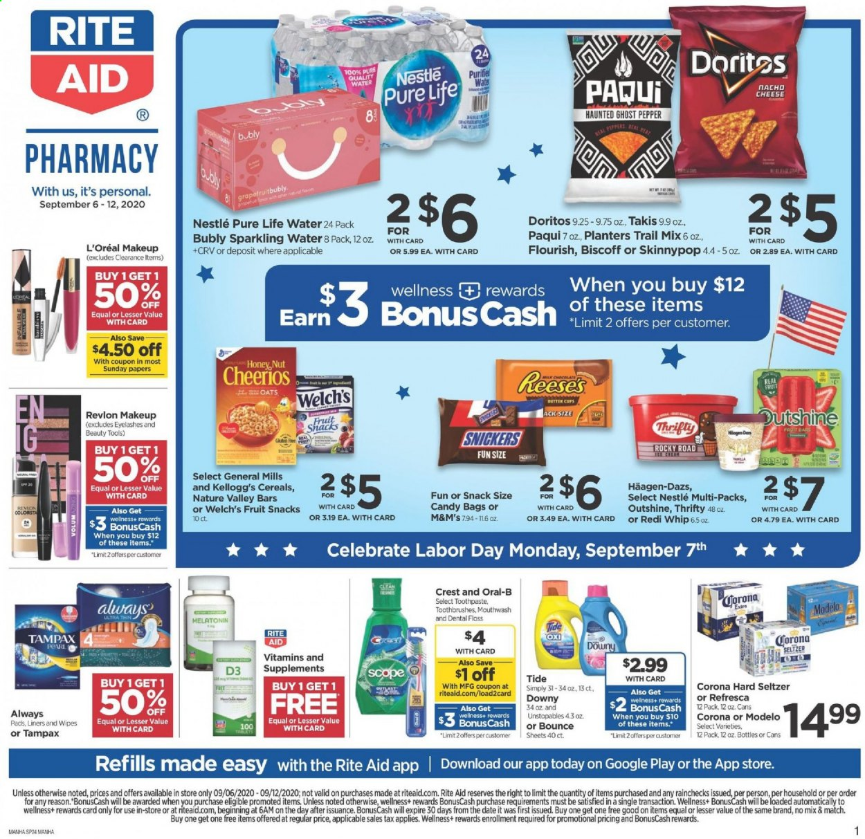 RITE AID Flyer - 09.06.2020 - 09.12.2020 - Sales products - Corona, Nestlé, candy, Snickers, M&M's, Doritos, snack, oats, cereals, Cheerios, pepper, seltzer, sparkling water, water, wipes, Downy, Tide, Unstopables, Oral-b, toothpaste, mouthwash, Tampax, L'Oréal, Revlon, tools, makeup, eyelashes, pad, Melatonin, Natrol, cream, ghost pepper. Page 1.
