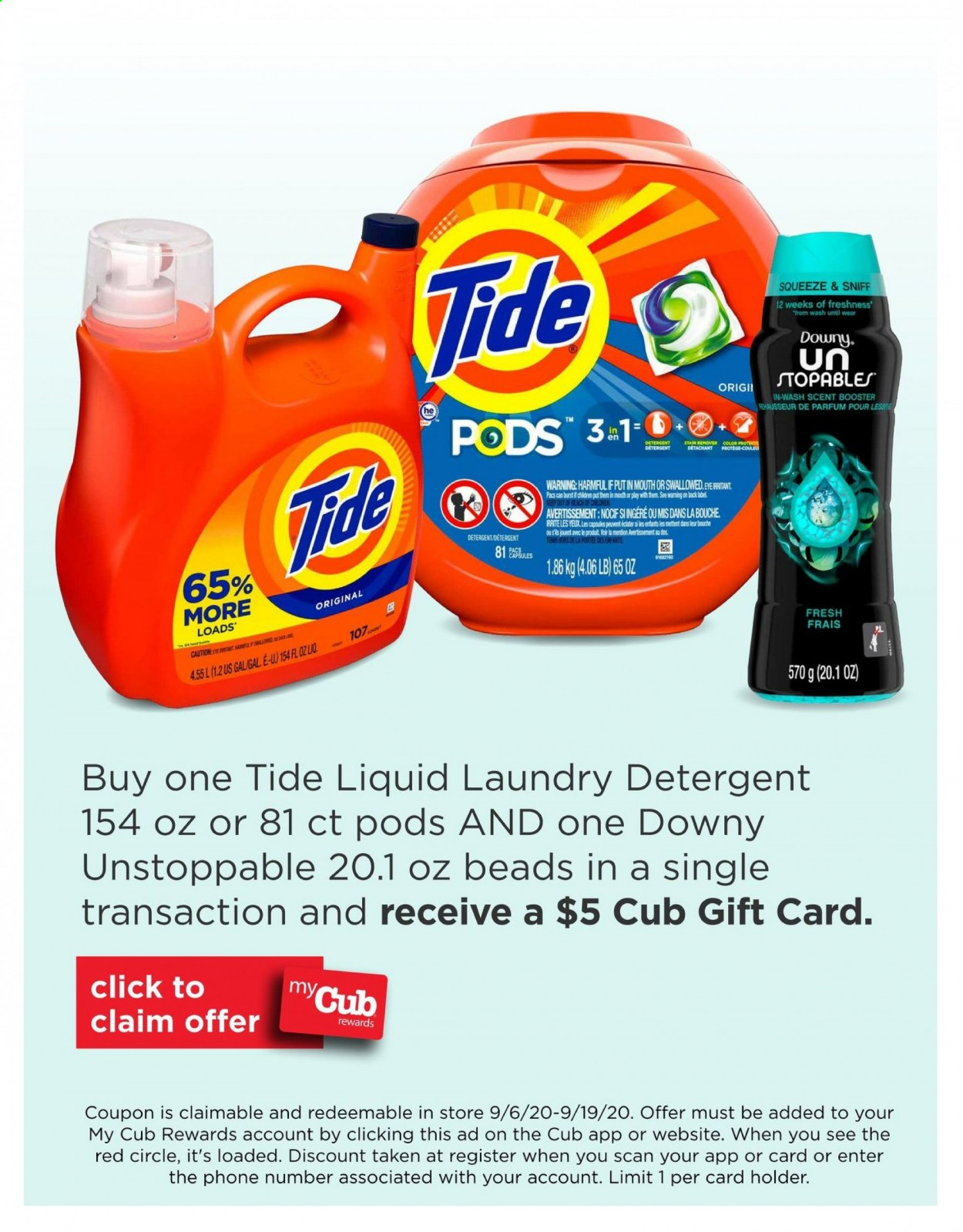 Cub Foods Flyer - 09.06.2020 - 09.19.2020 - Sales products - capsules, detergent, downy, tide, holder, gift card, liquid, remover, laundry detergent, phone. Page 1.