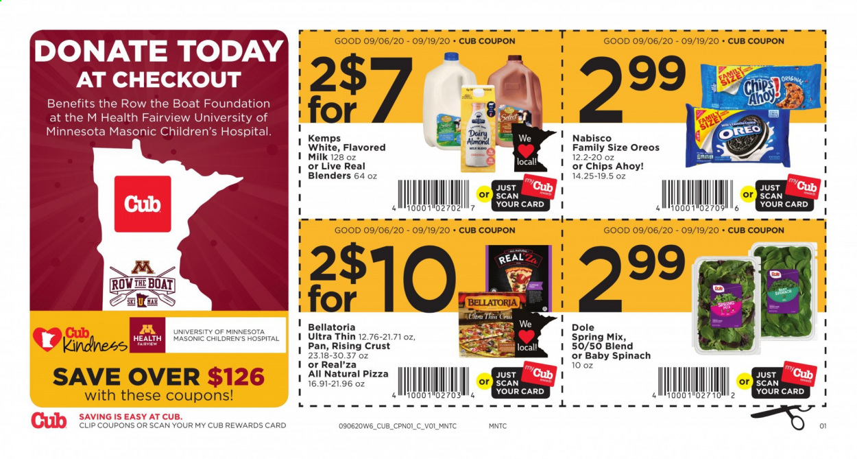 Cub Foods Flyer - 09.06.2020 - 09.19.2020 - Sales products - boat, mah, milk, spinach, pizza, pan, oreo, chips, dole, foundation, spring. Page 1.