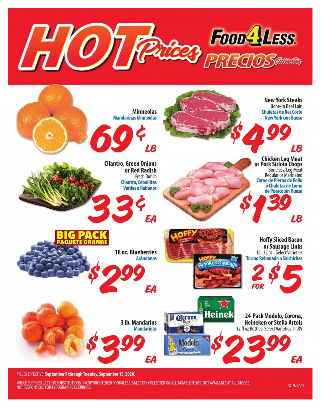 Food 4 Less Flyer - 09.09.2020 - 09.15.2020 - Sales products - bacon, beef meat, blueberries, cilantro, corona extra, sausage, smoked sausage, stella artois, pork meat, chicken, corona, heineken, meat. Page 1.
