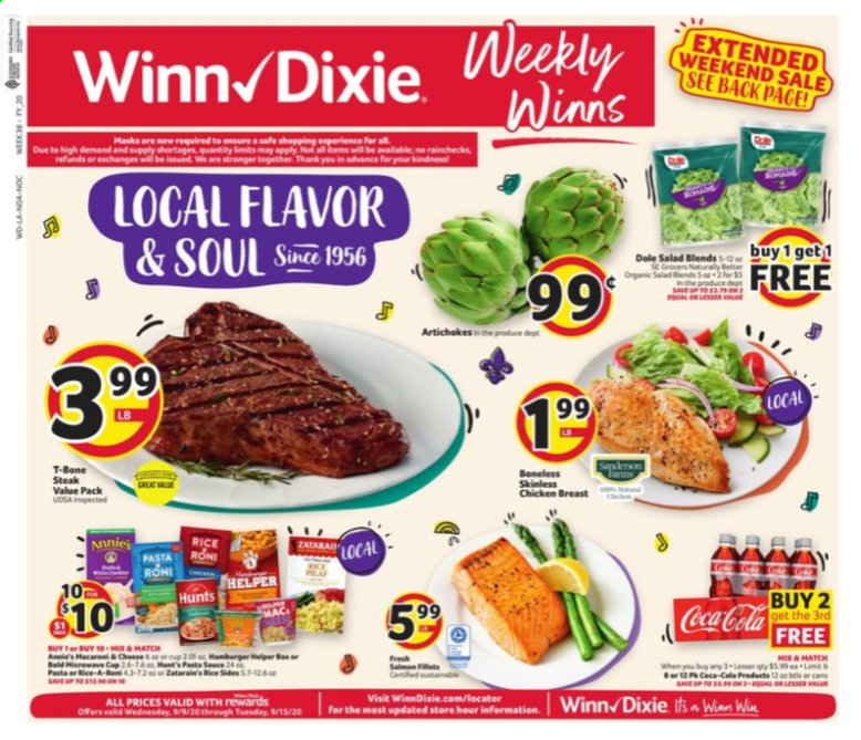 Winn Dixie Flyer - 09.09.2020 - 09.15.2020 - Sales products - artichokes, beer, rice, safe, t-bone steak, chicken, chicken breast, steak, cheese, pasta, salad, dole. Page 1.