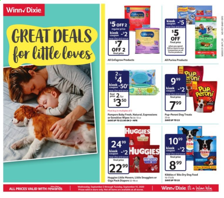 Winn Dixie Flyer - 09.02.2020 - 09.15.2020 - Sales products - animal food, dog food, dog chow, wipes, huggies, purina, pampers, chow, dry dog food, treats, diapers. Page 1.