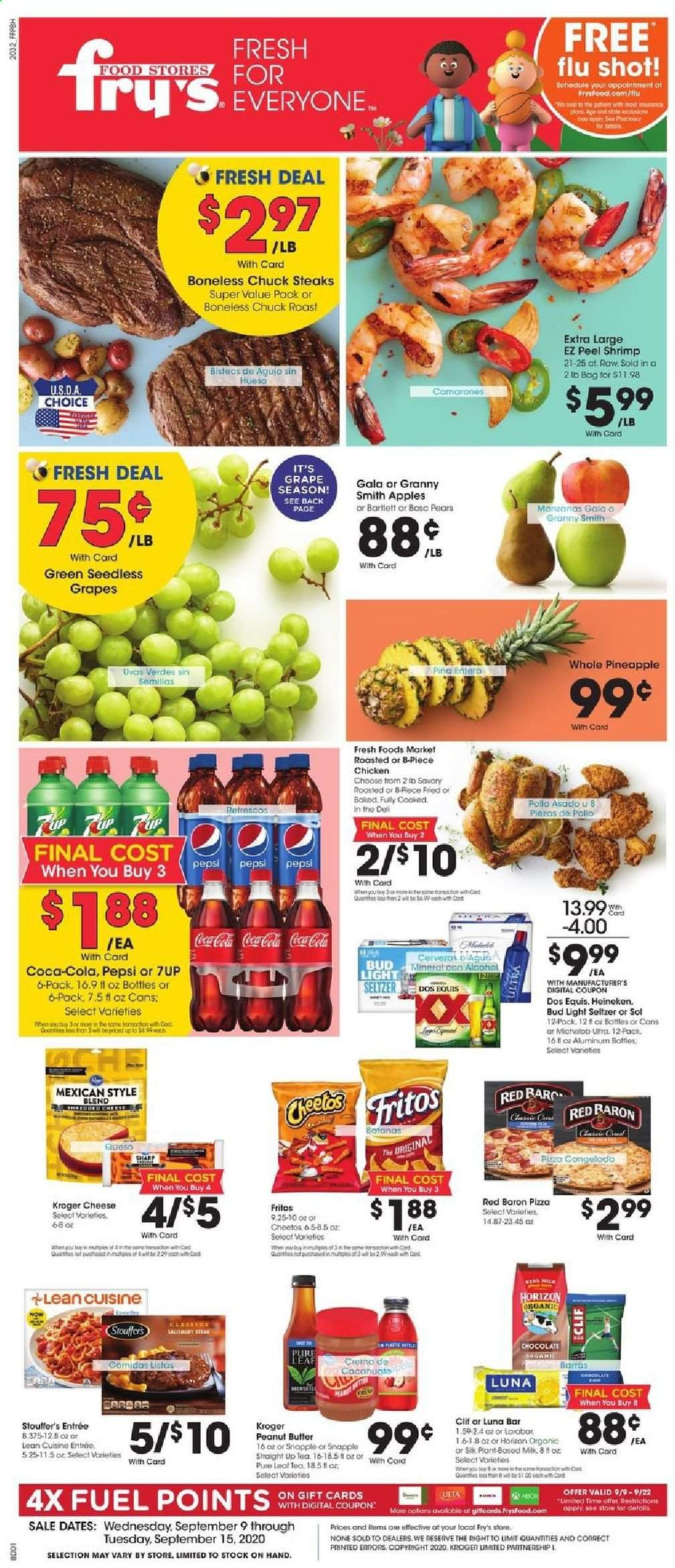 Fry's Flyer - 09.09.2020 - 09.15.2020 - Sales products - Bud Light, Dos Equis, Michelob, apples, grapes, seedless grapes, pineapple, pears, cod, shrimps, pizza, cheese, chocolate, Cheetos, Fritos, peanut butter, Coca-Cola, Pepsi, seltzer, tea, chicken, Sharp. Page 1.