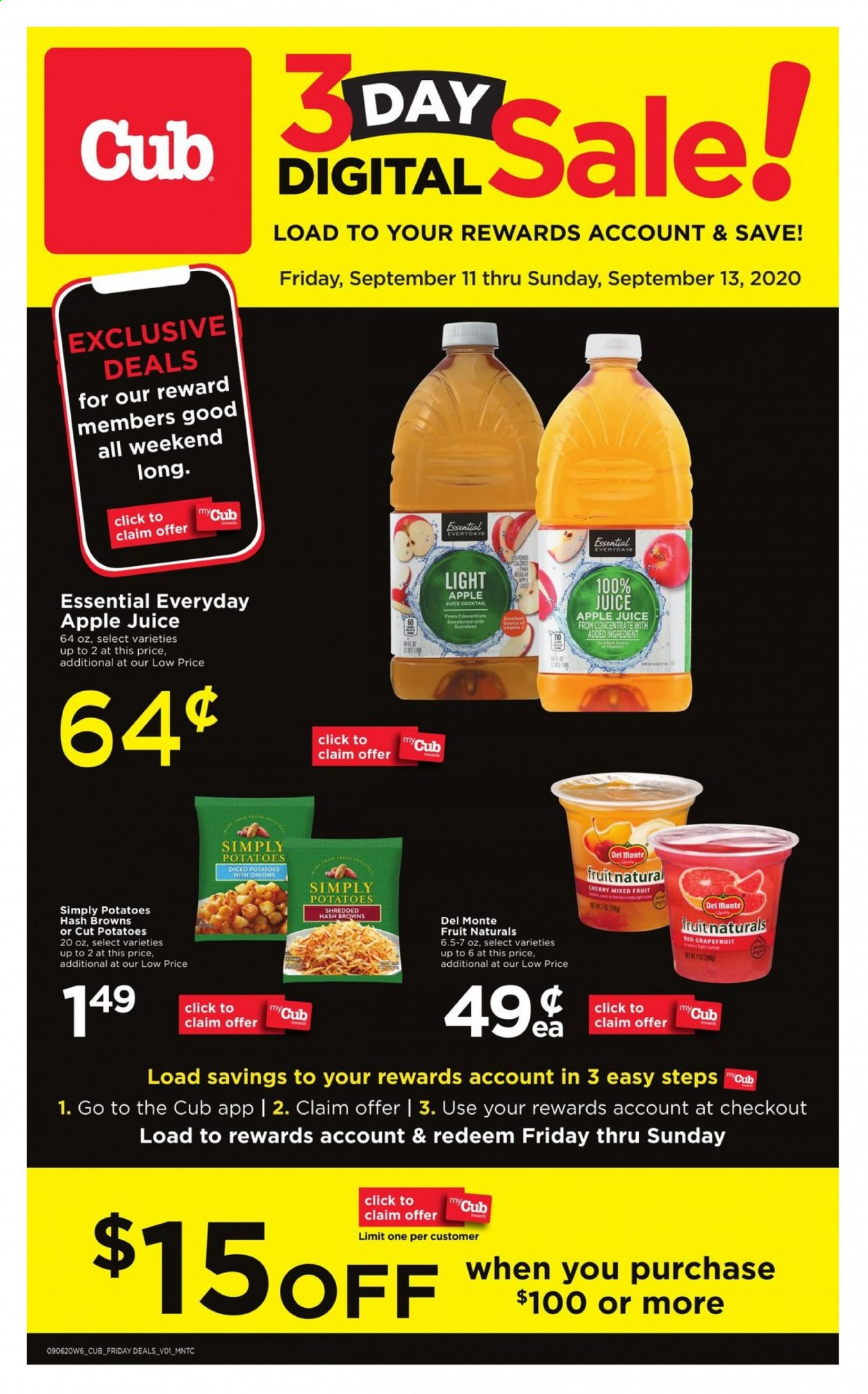 Cub Foods Flyer - 09.11.2020 - 09.13.2020 - Sales products - apple juice, del monte, diced potatoes, vitamin c, hash browns, potatoes, onion, juice, fruit, onions. Page 1.