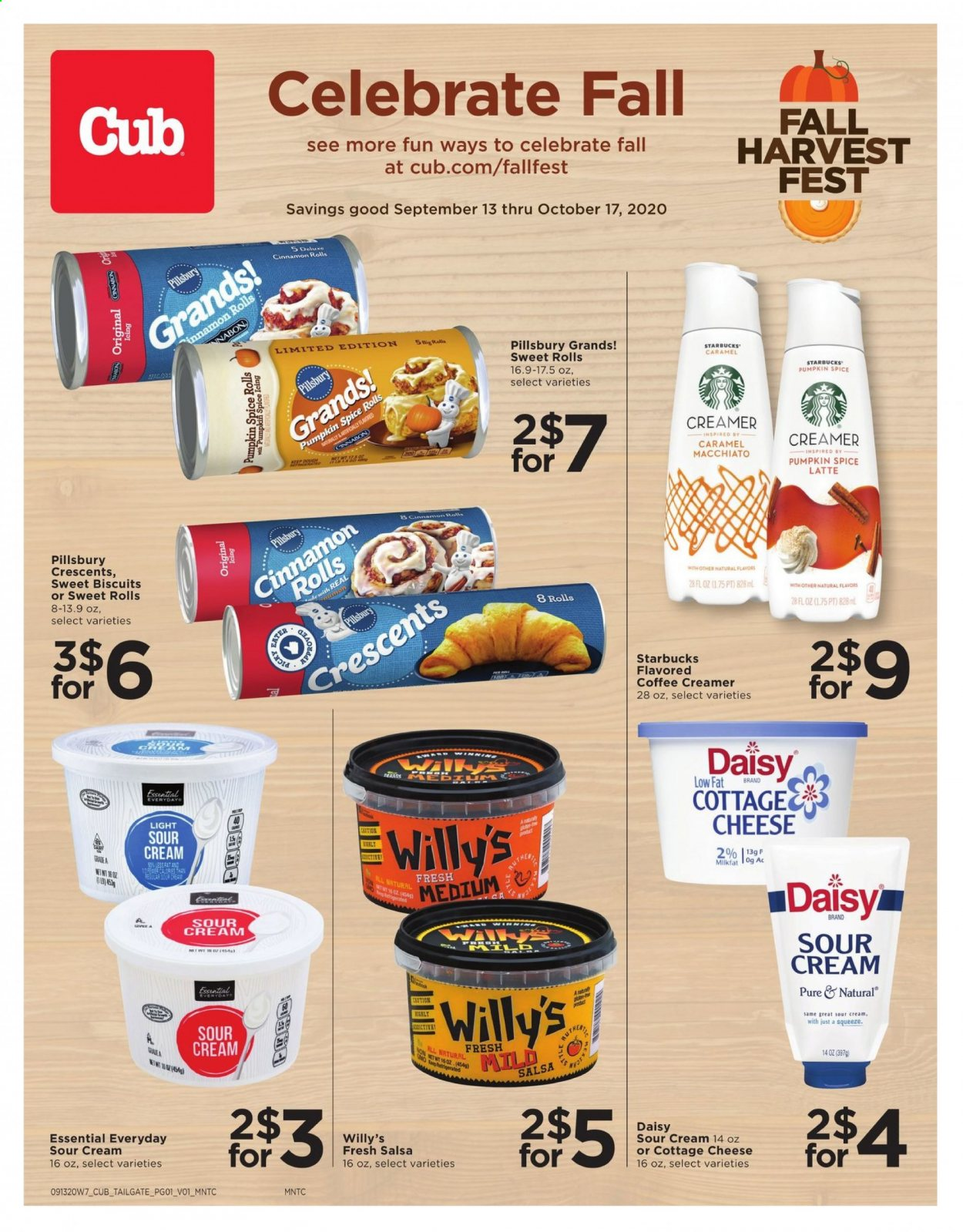 Cub Foods Flyer - 09.13.2020 - 10.17.2020 - Sales products - biscuits, caramel, cinnamon rolls, cottage cheese, mint, sour cream, starbucks, pumpkin, cheese, creamer, salsa, coffee creamer, cream. Page 1.