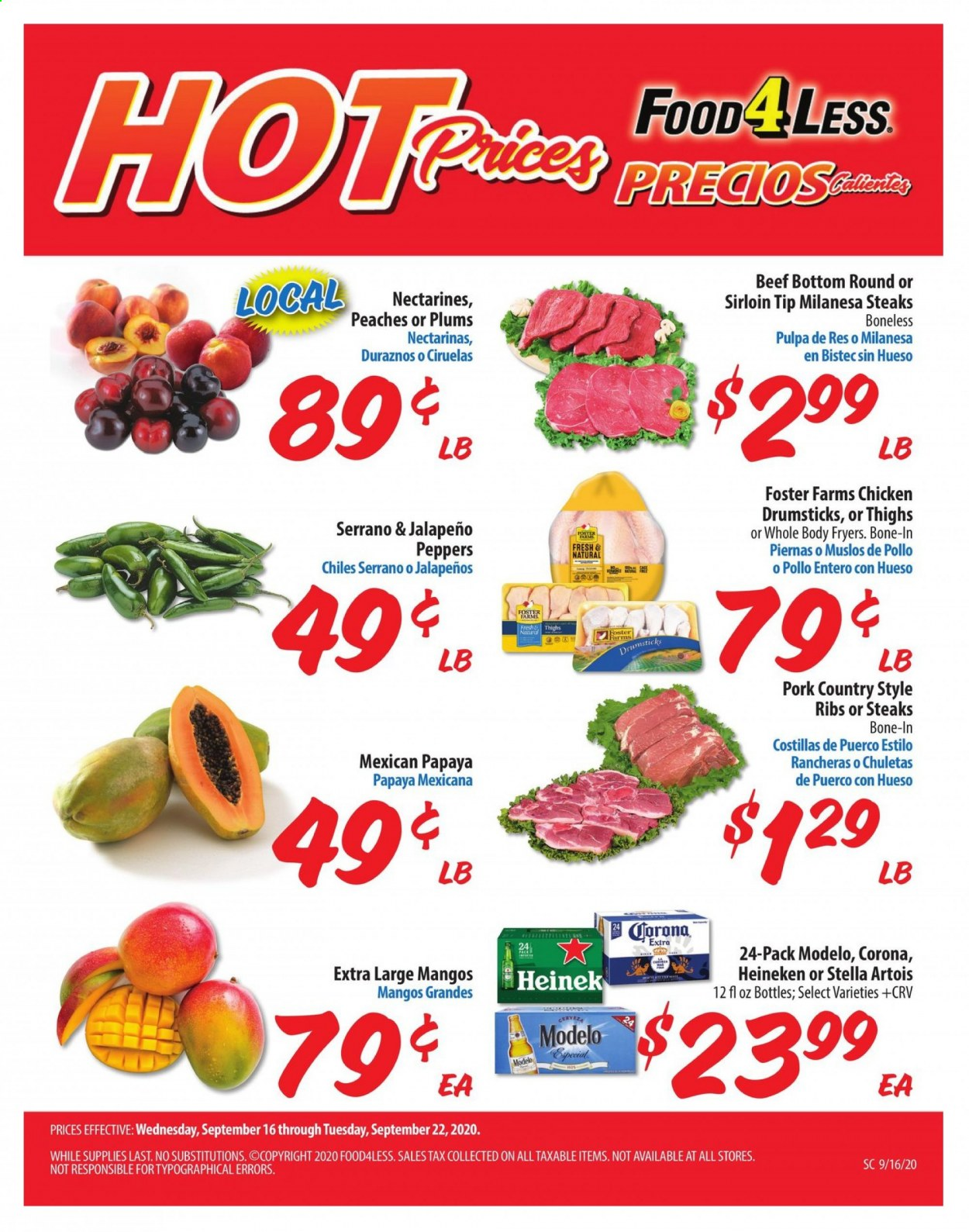Food 4 Less Flyer - 09.16.2020 - 09.22.2020 - Sales products - beef meat, bottom, corona extra, mango, nectarines, stella artois, plums, pork meat, chicken, papaya, peaches, ribs, corona, heineken, peppers, jalapeno, peache. Page 1.