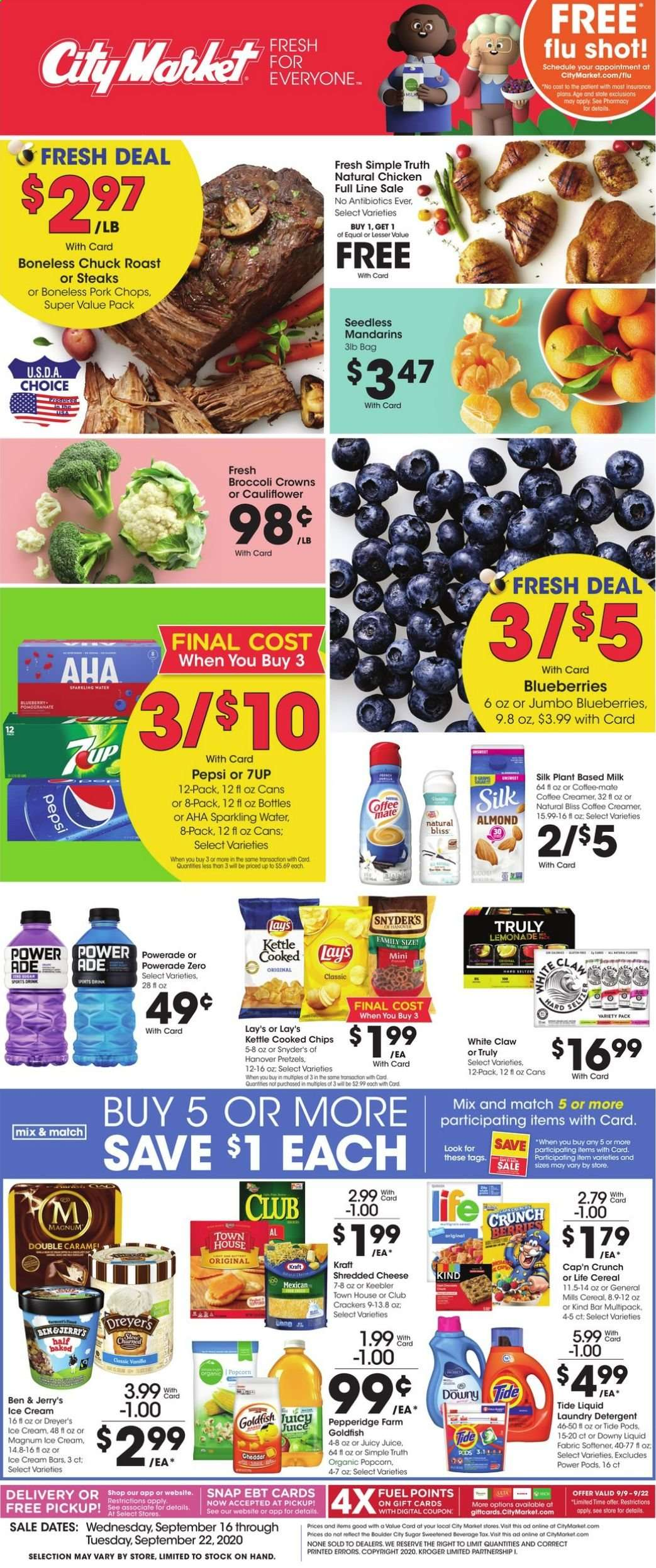 City Market Flyer - 09.16.2020 - 09.22.2020 - Sales products - bag, blueberries, broccoli, cap, cauliflower, cereals, Coffee-Mate, detergent, Downy, fuel, lemonade, Magnum, milk, shredded cheese, sugar, Tide, ice cream, ice cream bars, pork chops, pork meat, powerade, pretzels, chicken, Pepsi, chips, cheese, juice, creamer, sparkling water, coffee creamer, softener, Lay's, laundry detergent, kettle. Page 1.