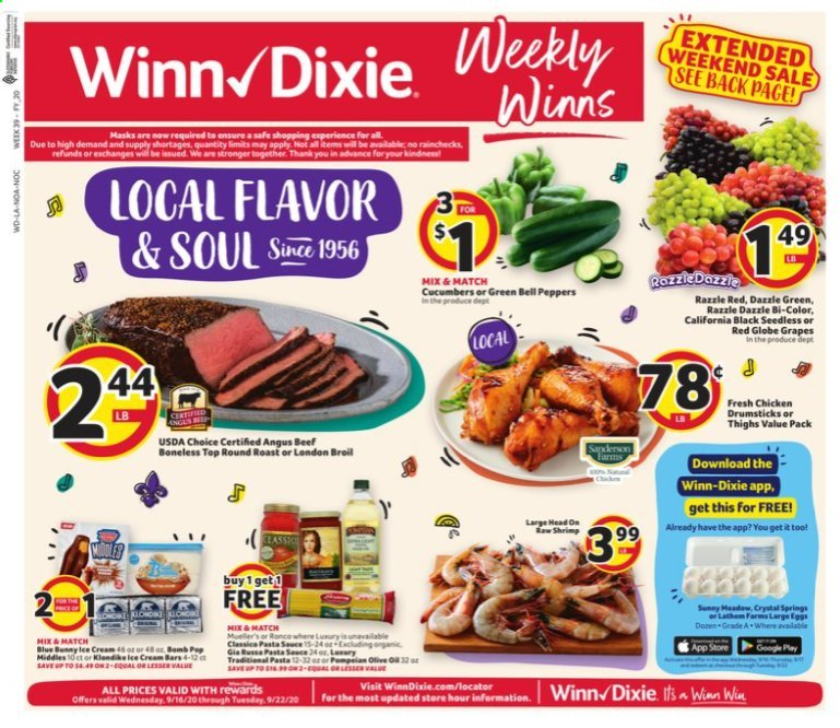 Winn Dixie Flyer - 09.16.2020 - 09.22.2020 - Sales products - bell peppers, cucumbers, peppers, grapes, red globe grapes, chicken, chicken legs, beef meat, shrimps, ice cream, ice cream bars. Page 1.
