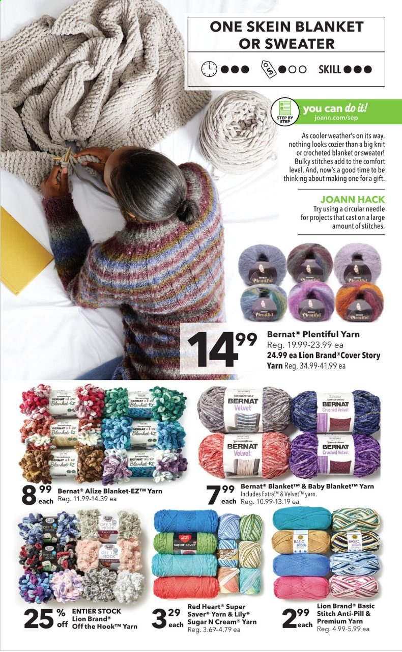 JOANN Flyer - 09.17.2020 - 09.30.2020 - Sales products - blanket, sugar, sweater, cooler, cream. Page 13.