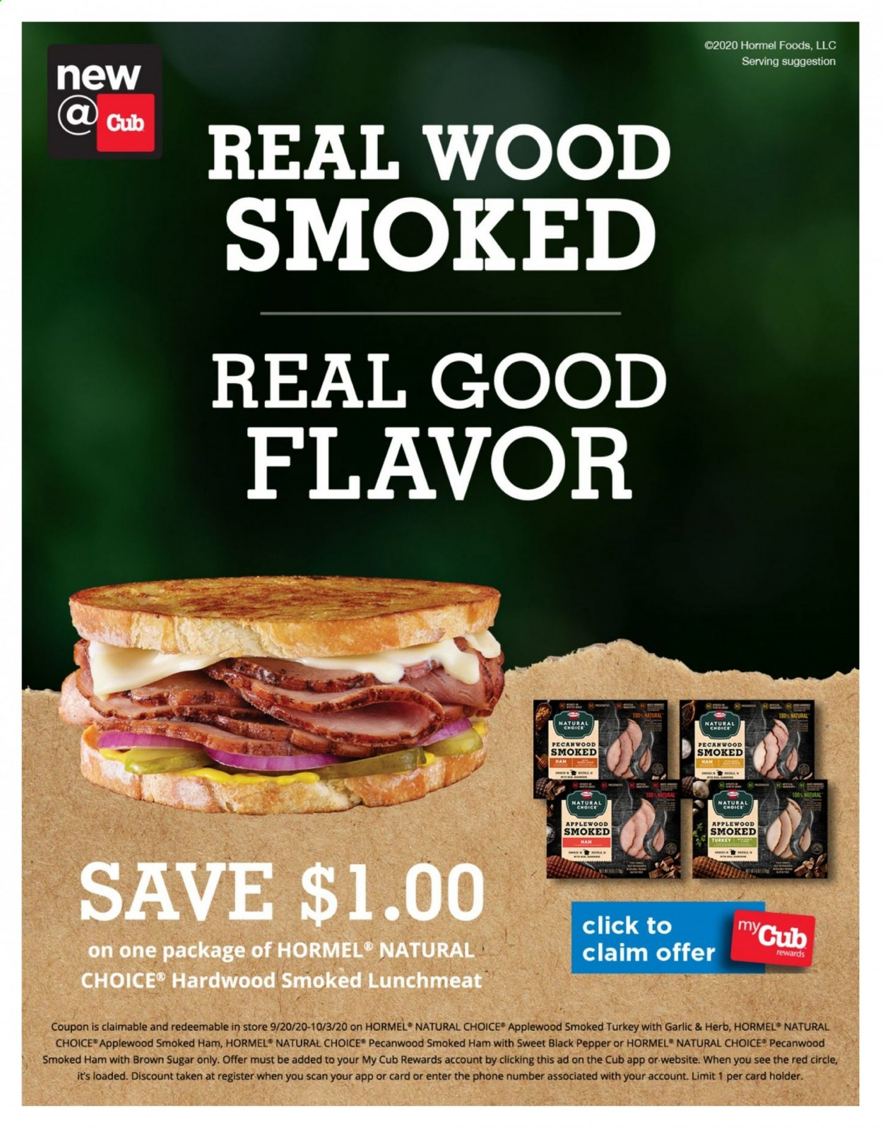 Cub Foods Flyer - 09.20.2020 - 10.03.2020 - Sales products - brown sugar, garlic, lunchmeat, sugar, turkey, ham, holder, smoked ham, black pepper, pepper, herb, phone, herbs. Page 1.