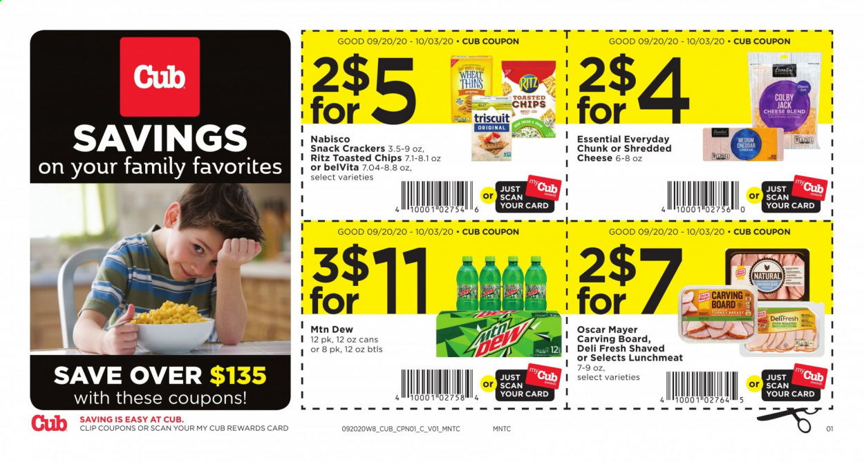 Cub Foods Flyer - 09.20.2020 - 10.03.2020 - Sales products - colby cheese, crackers, lunchmeat, shredded cheese, turkey, turkey breast, cheddar, oven, chips, cheese, snack, ritz, board. Page 1.