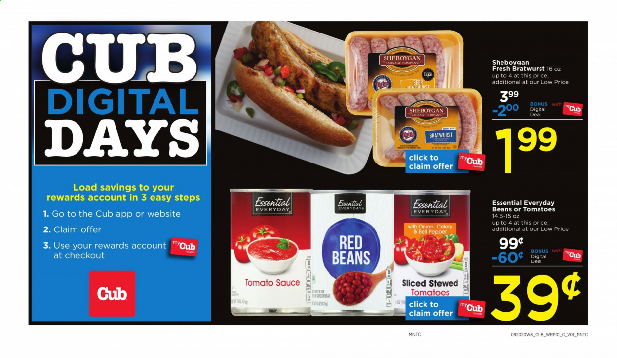 Cub Foods Flyer - 09.20.2020 - 09.26.2020 - Sales products - bell peppers, celery, tomatoes, onion, bratwurst, sausage, sauce, beans, red beans, pepper, tomato sauce. Page 1.
