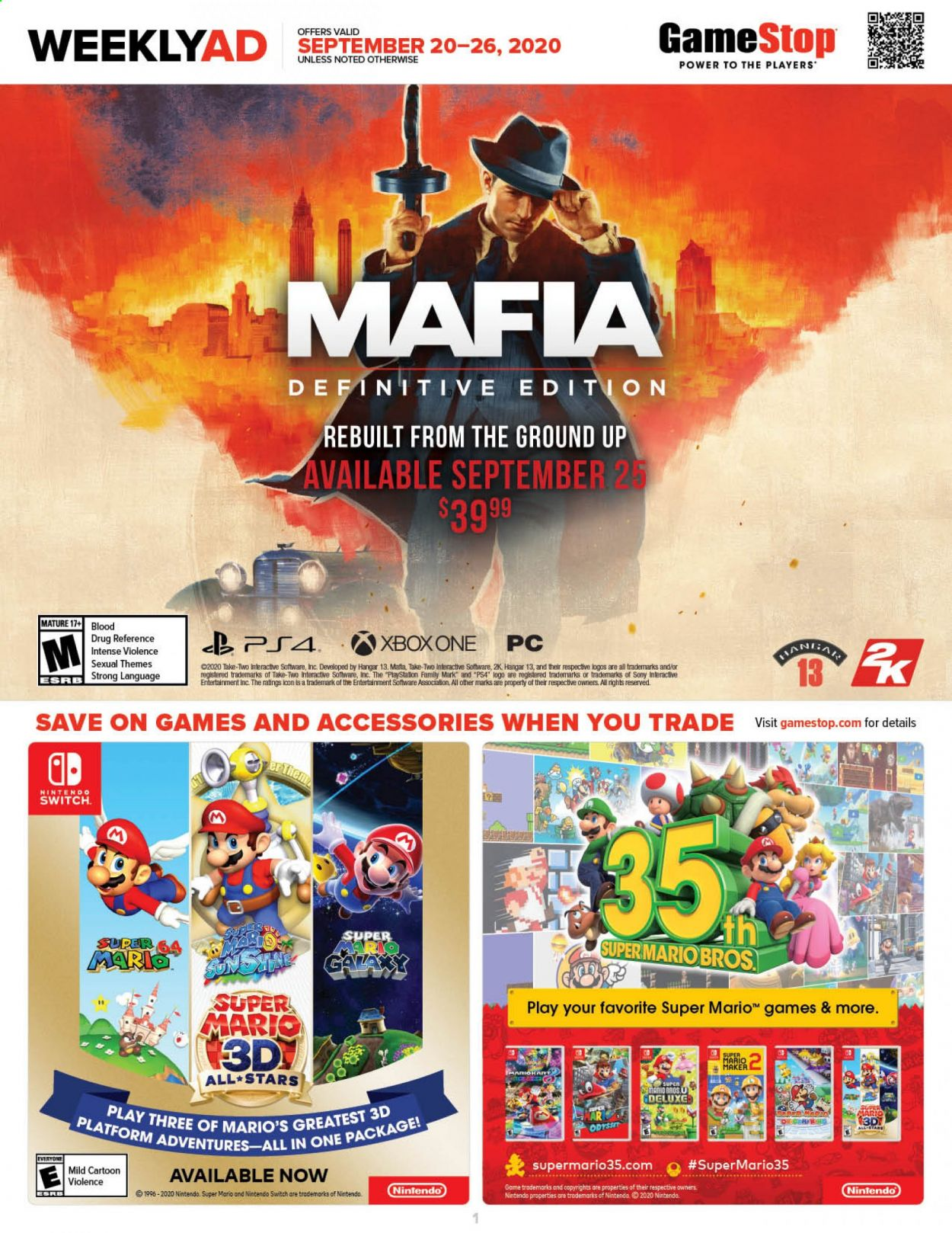 GameStop Flyer - 09.20.2020 - 09.26.2020 - Sales products - Sony, switch, Xbox One, Game, Software, nintendo switch, Xbox. Page 1.