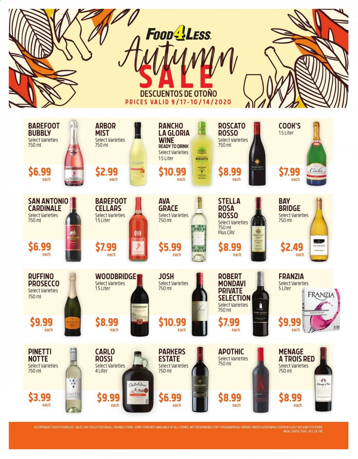 Food 4 Less Flyer - 09.17.2020 - 10.14.2020 - Sales products - prosecco, chardonnay, wine, drink. Page 1.
