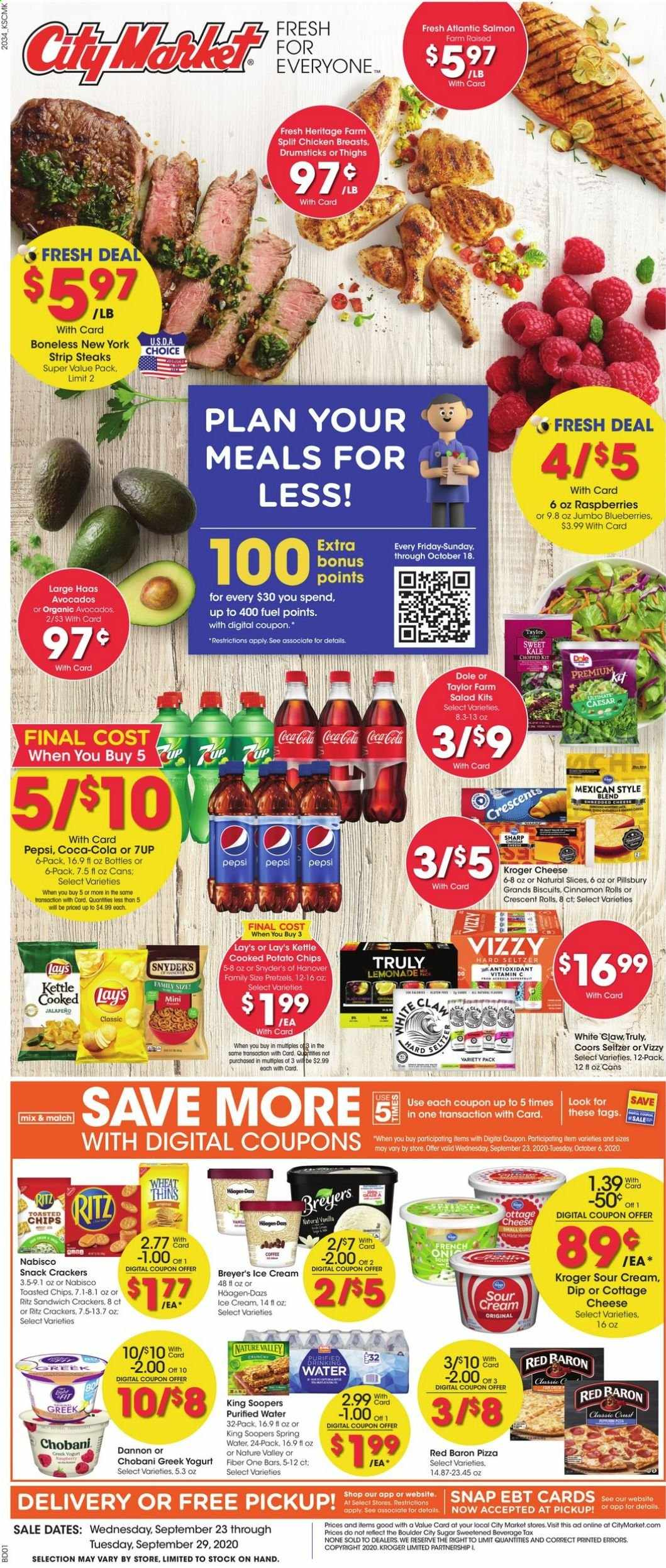 City Market Flyer - 09.23.2020 - 09.29.2020 - Sales products - avocado, biscuits, blueberries, cinnamon rolls, Coca-Cola, coffee, cottage cheese, fuel, greek yogurt, lemonade, raspberries, salmon, seltzer, Sharp, sour cream, spring water, sugar, vitamin c, ice cream, kale, pizza, potato chips, pretzels, chicken, chicken breast, Pepsi, chips, cheese, sandwich, snack, Breyer, Lay's, salad, Coors, Dole, purified water, kettle, spring. Page 1.