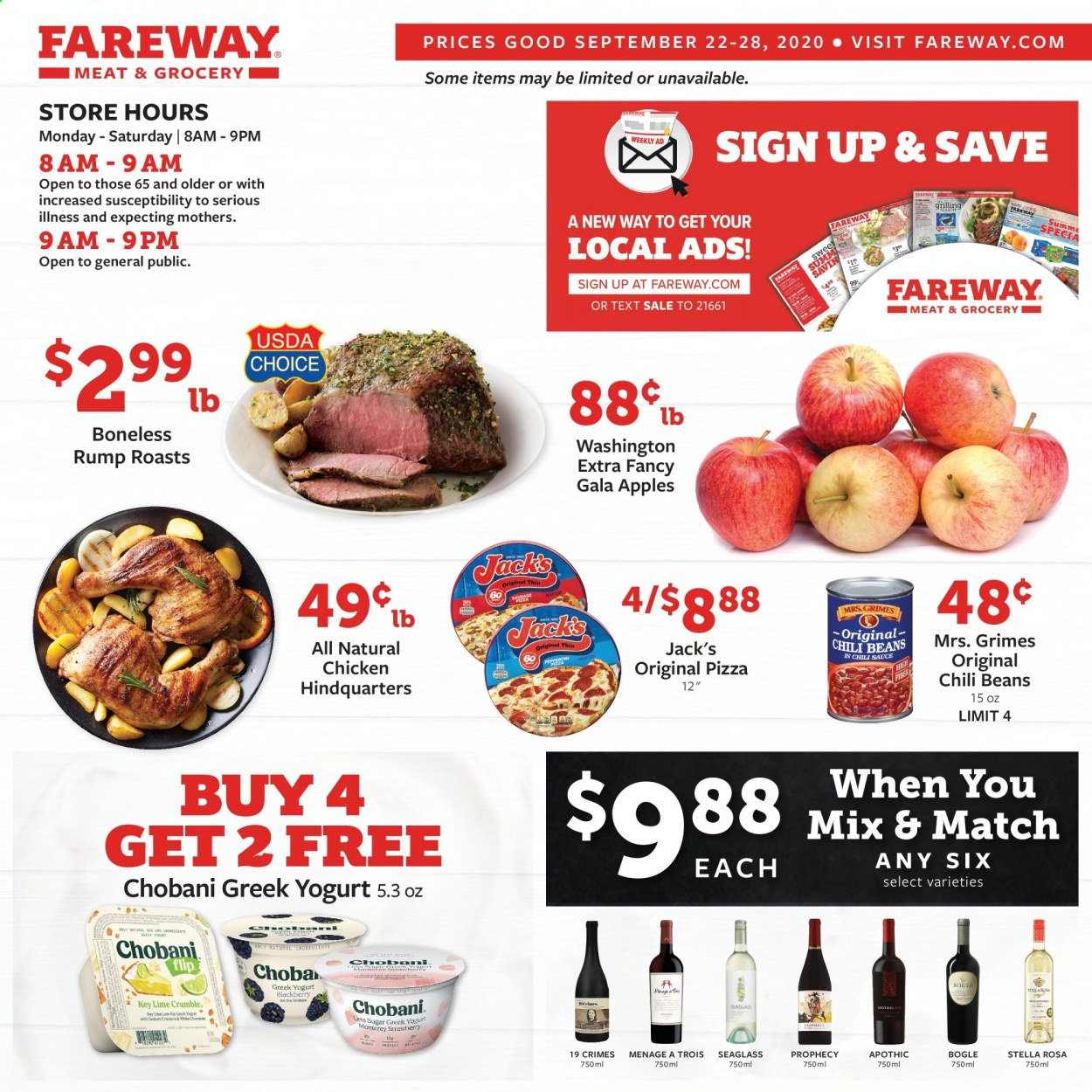 Fareway Flyer - 09.22.2020 - 09.28.2020 - Sales products - gala apples, strawberries, pizza, sausage, greek yogurt, sauce, beans, chili beans, chili sauce, chicken. Page 1.