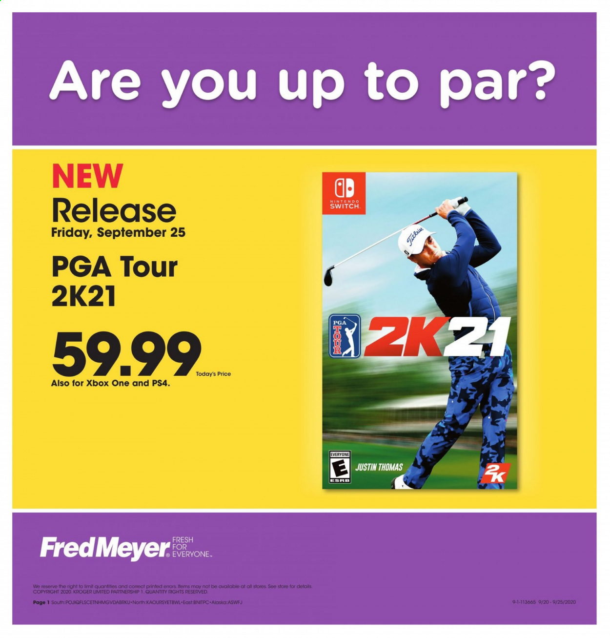Fred Meyer Flyer - 09.25.2020 - 09.25.2020 - Sales products - switch, xbox one, nintendo, k2, ps4, nintendo switch, xbox. Page 1.