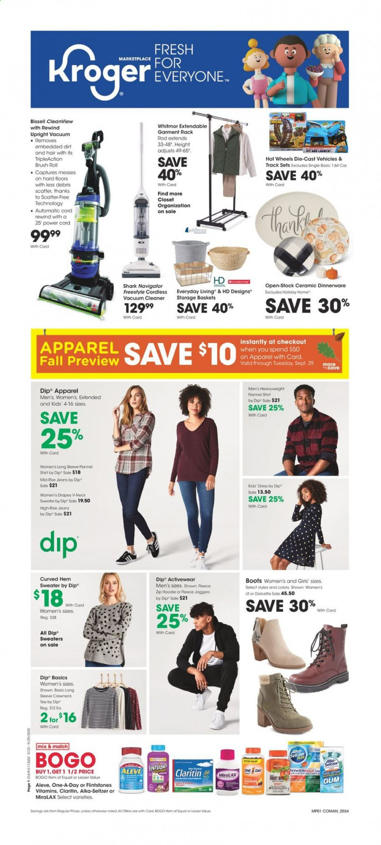 Kroger Flyer - 09.23.2020 - 09.29.2020 - Sales products - aleve, alkaseltzer, apparel, basket, bissell, boots, brush, dress, flannel, flannel shirt, miralax, rack, seltzer, shirt, sweater, tee, vacuum, vacuum cleaner, hoodie, jeans, hot wheels, rod, gum, car, bites, dinnerware, fruit, cleaner, scatter, cool. Page 1.