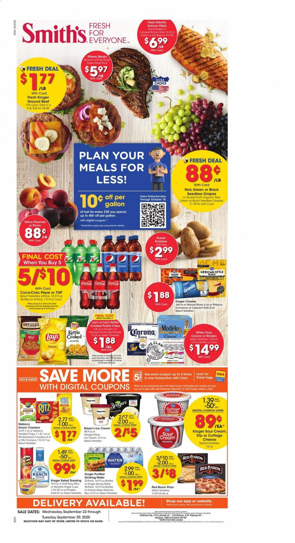 Smith's Flyer - 09.23.2020 - 09.29.2020 - Sales products - bag, beef meat, cerveza, coca-cola, cottage cheese, crackers, dates, fuel, granola, grapes, ground beef, ranch dressing, russet potatoes, salad dressing, salmon, seedless grapes, sharp, shrimp, sour cream, spring water, ice cream, pizza, plums, potato chips, potatoes, pretzels, pringles, peaches, pepsi, organic, chips, drinking water, cheese, dressing, sandwich, snack, breyer, lay's, ritz, salad, corona, jalapeno, roast, shrimps, kettle, peache, spring. Page 1.