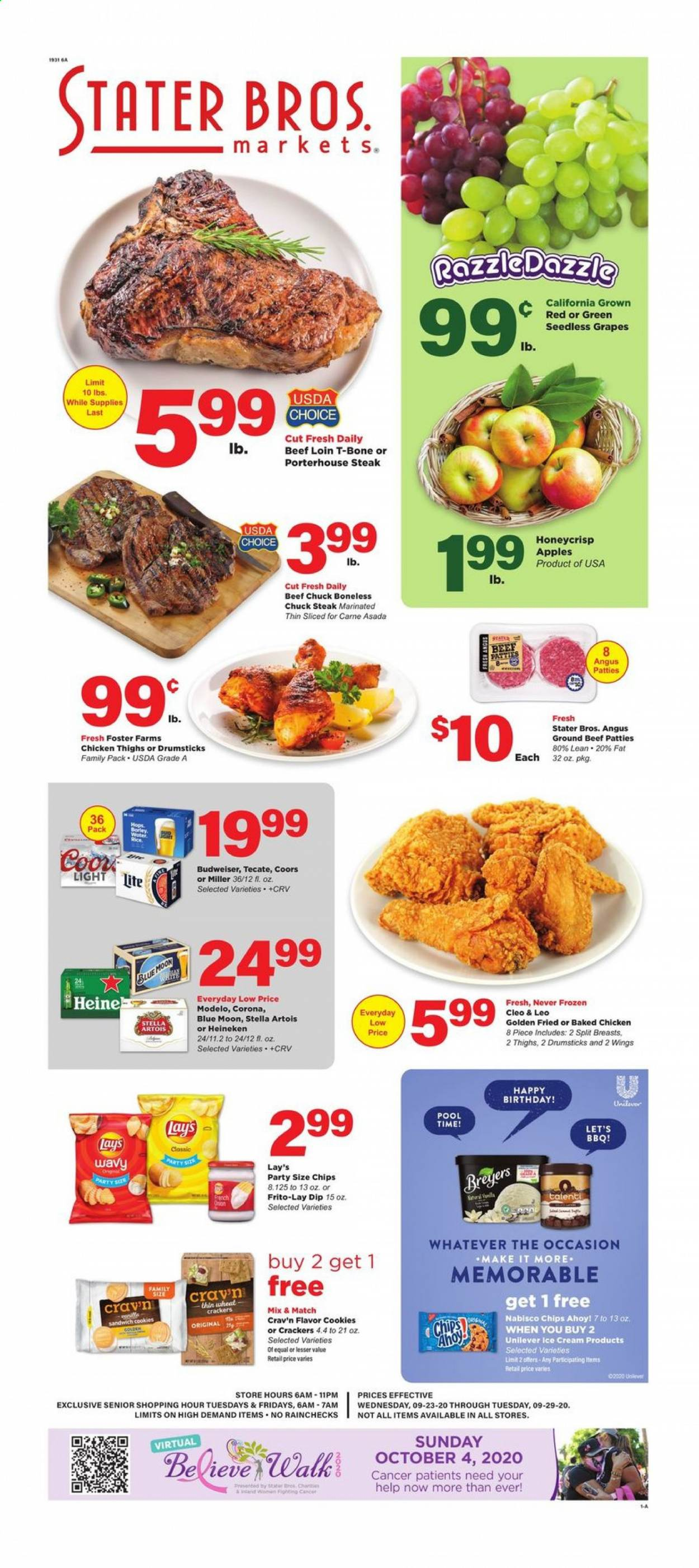 Stater Bros. Flyer - 09.23.2020 - 09.29.2020 - Sales products - Budweiser, Stella Artois, Coors, Corona, Blue Moon, onion, apples, grapes, seedless grapes, sandwich, ice cream, cookies, sandwich cookies, cracker, crackers, chips, Lay's, rice, chicken, chicken thighs, beef meat, steak, ground beef, Frozen. Page 1.