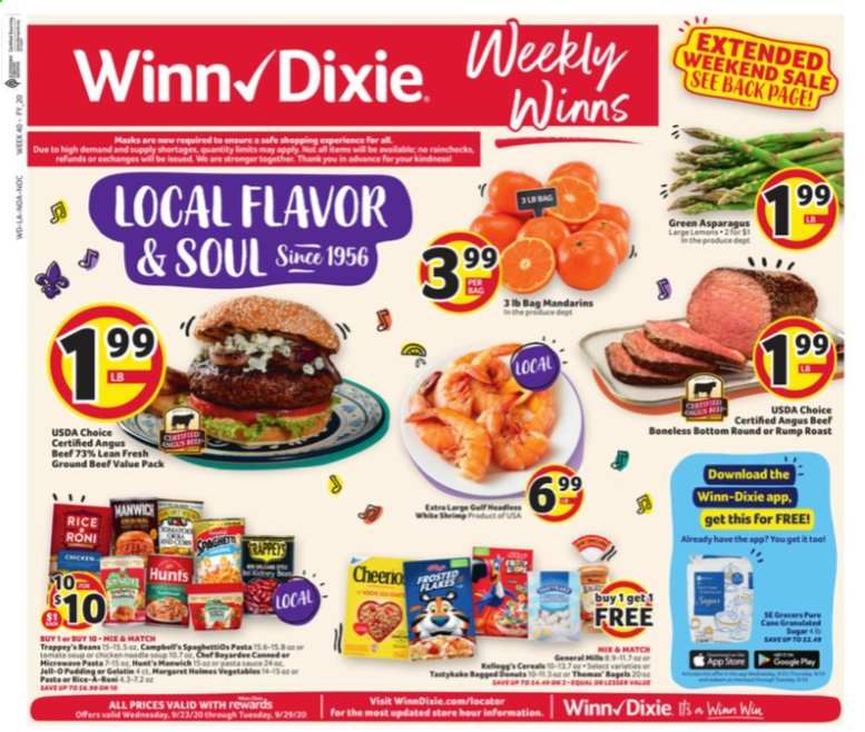 Winn Dixie Flyer - 09.23.2020 - 09.29.2020 - Sales products - asparagus, lemons, bagels, chicken, beef meat, ground beef, beans, cereals, tools. Page 1.