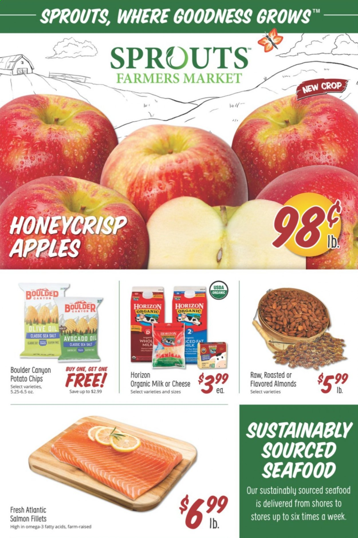 Sprouts Flyer - 09.23.2020 - 09.29.2020 - Sales products - apples, avocado, salmon, seafood, cheese, organic milk, potato chips, chips, salt, sea salt, almonds, Omega-3. Page 1.