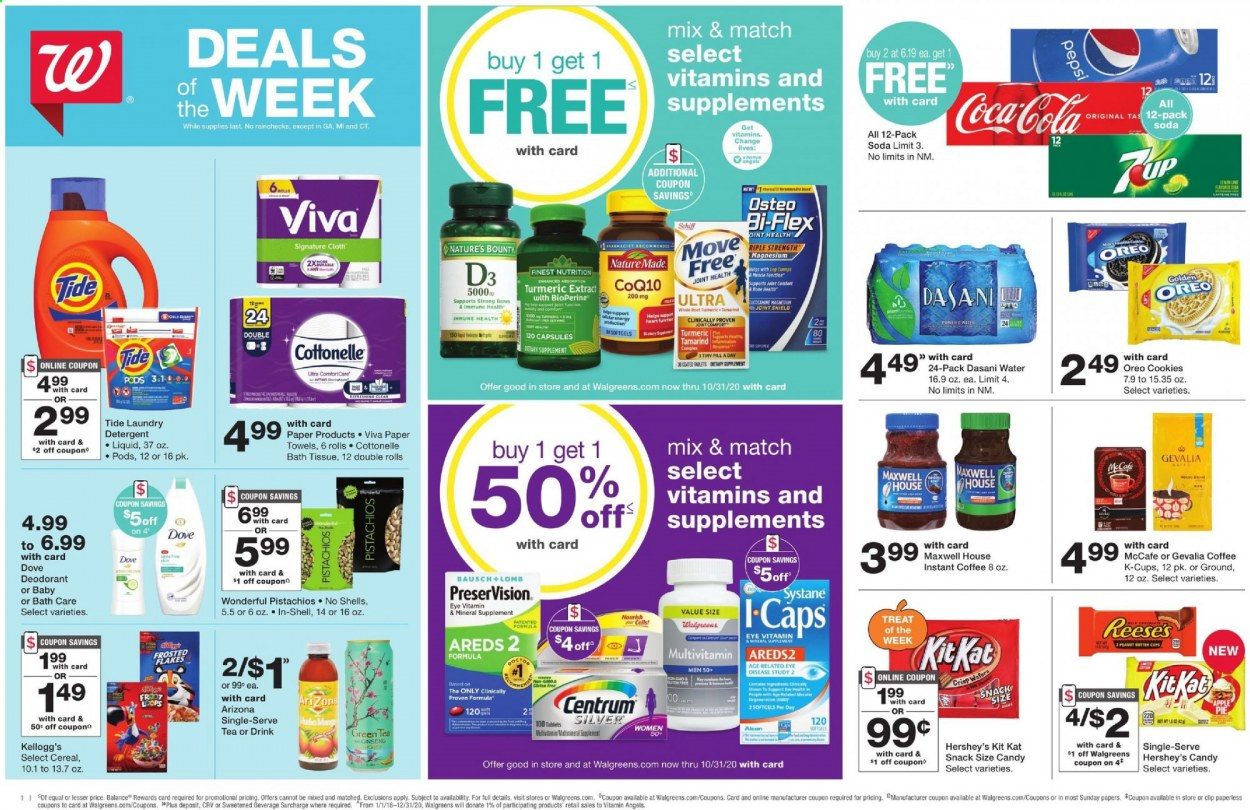 Walgreens Flyer - 09.27.2020 - 10.03.2020 - Sales products - apples, bath tissue, capsules, centrum, cereals, coca-cola, cookies, coq, cottonelle, d3, deodorant, detergent, dove, green tea, magnesium, maxwell house, move free, multivitamin, nature made, nature's bounty, shell, shield, systane, tea, tide, turmeric, instant coffee, paper towel, peanut butter, pepsi, oreo, osteo bi-flex, ginseng, soda, candy, snack, cereal, bounty, drink, liquid, bones, tablets, laundry detergent, apple, paper towels, bi-flex. Page 1.