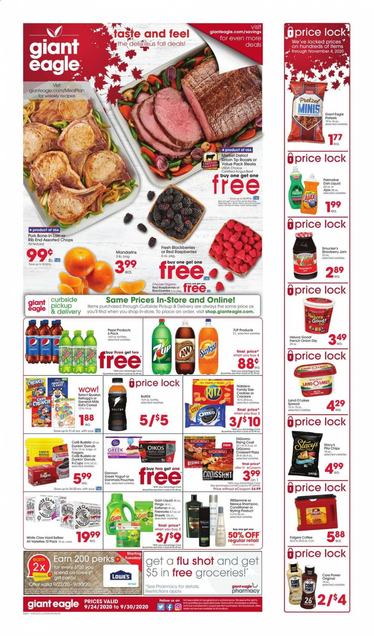 Giant Eagle Flyer - 09.24.2020 - 09.30.2020 - Sales products - beef meat, blackberries, bottle, cap, cereals, coffee, conditioner, cookies, crackers, croissants, gain, greek yogurt, raspberries, seltzer, shampoo, strawberry jam, tresemmé, yogurt, jam, pita, pizza, pork meat, pretzels, pepsi, onion, oreo, organic, chips, cheese, donuts, softener, cereal, ritz, nexxus, dishwashing liquid, flakes, strawberry, liquid, dish, oil, folgers, donut. Page 1.
