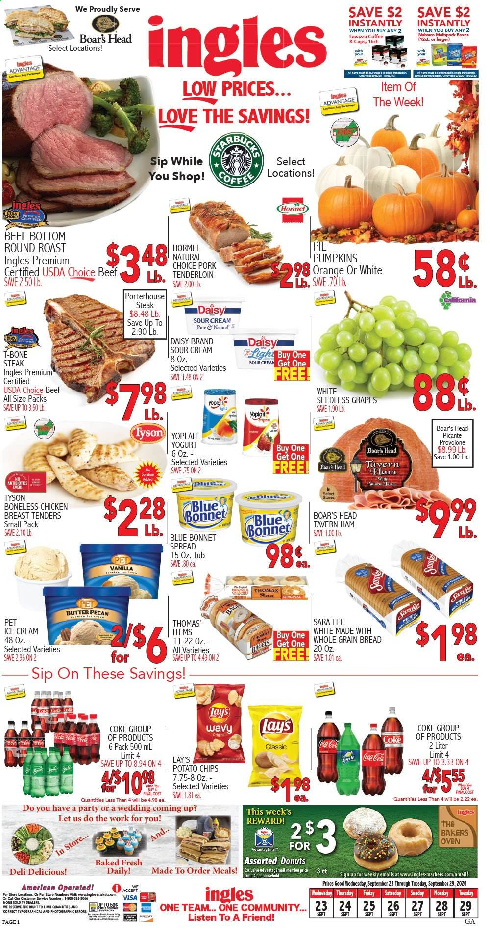 Ingles Flyer - 09.23.2020 - 09.29.2020 - Sales products - beef meat, bottom, box, bread, butter, coca-cola, coffee, grapes, seedless grapes, sour cream, sprite, t-bone steak, yogurt, ham, head, ice cream, pork meat, provolone, chicken, chicken breast, oven, orange, steak, tenderloin, pie, donuts, lee, lay's, tub, roast, donut, led. Page 1.
