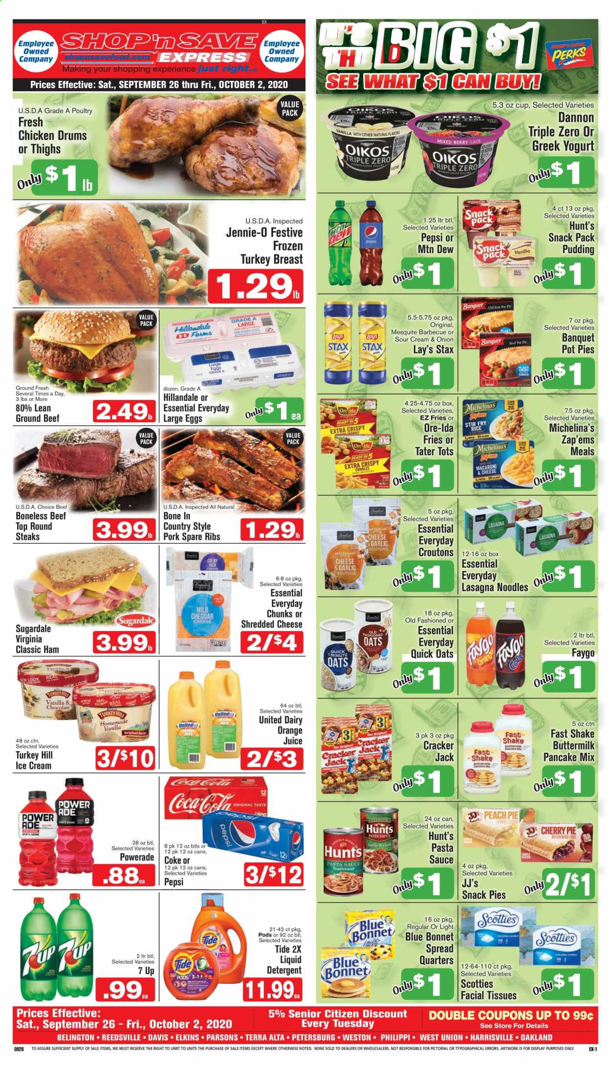 Shop 'n Save Express Flyer - 09.26.2020 - 10.02.2020 - Sales products - beef meat, box, buttermilk, coca-cola, croutons, cup, detergent, eggs, facial tissues, frozen turkey, greek yogurt, ground beef, shredded cheese, sour cream, tide, turkey, turkey breast, yogurt, ham, ice cream, pork meat, pot, pot pies, powerade, pudding, chicken, pancake mix, pasta sauce, pepsi, oats, onion, orange juice, orange, pork spare ribs, cheese, juice, noodles, snack, pasta, lay's, cracker, sauce, ribs, tissues, liquid detergent, liquid, frozen turkey breast, barbecue, pancake. Page 1.