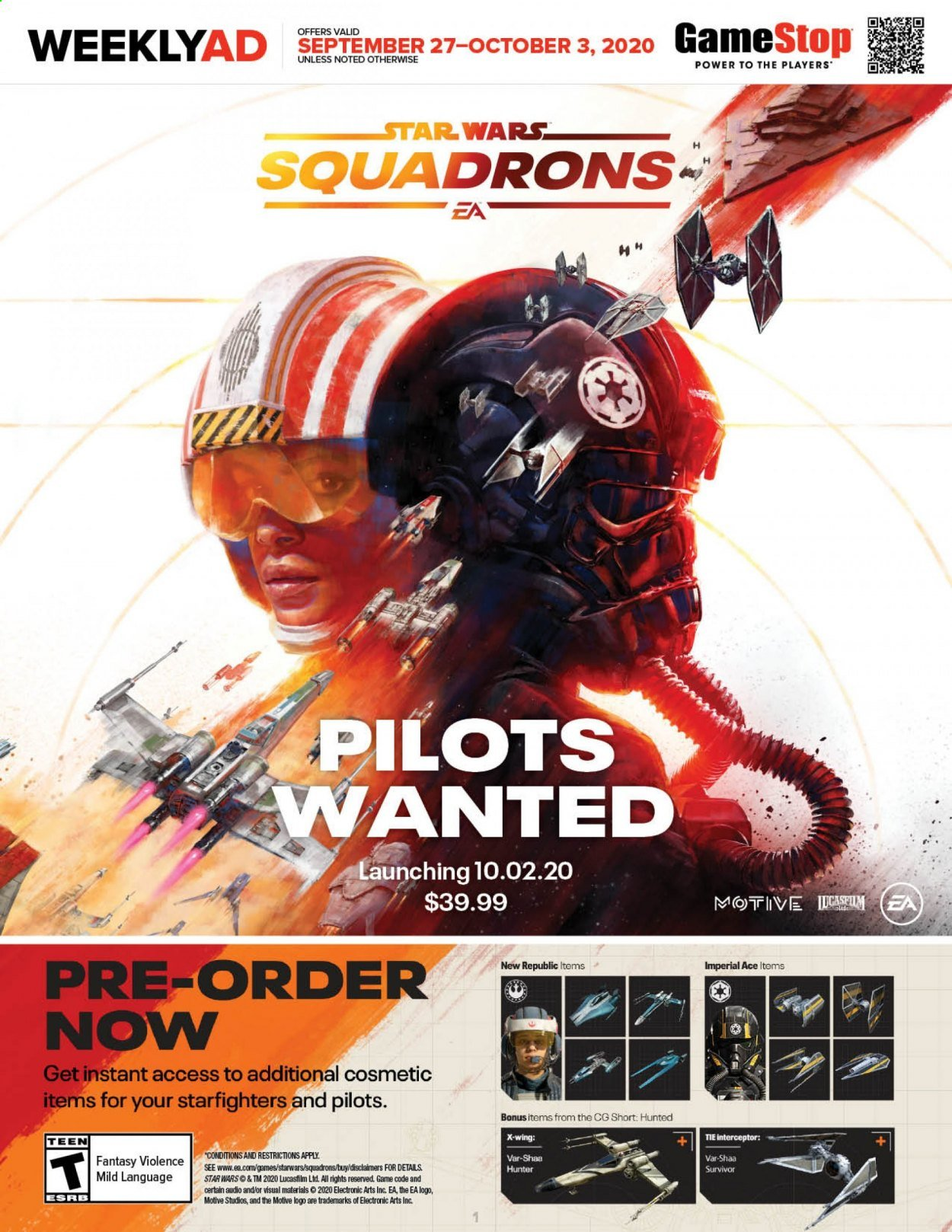GameStop Flyer - 09.27.2020 - 10.03.2020 - Sales products - tie, cosmetic, game, star wars. Page 1.
