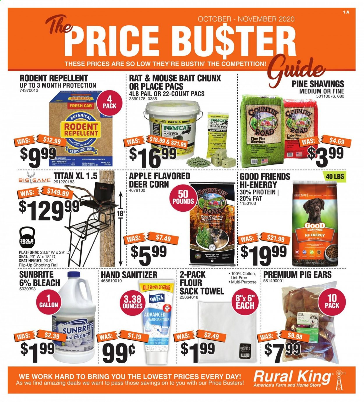 Rural King Flyer - 09.27.2020 - 11.28.2020 - Sales products - apples, bedding, corn, cotton, deer, fa, flour, fragrance, mouse, rail, repellent, tomcat, towel, honey, pine, protein, game, bleach, hand sanitizer, apple, 100% cotton. Page 1.