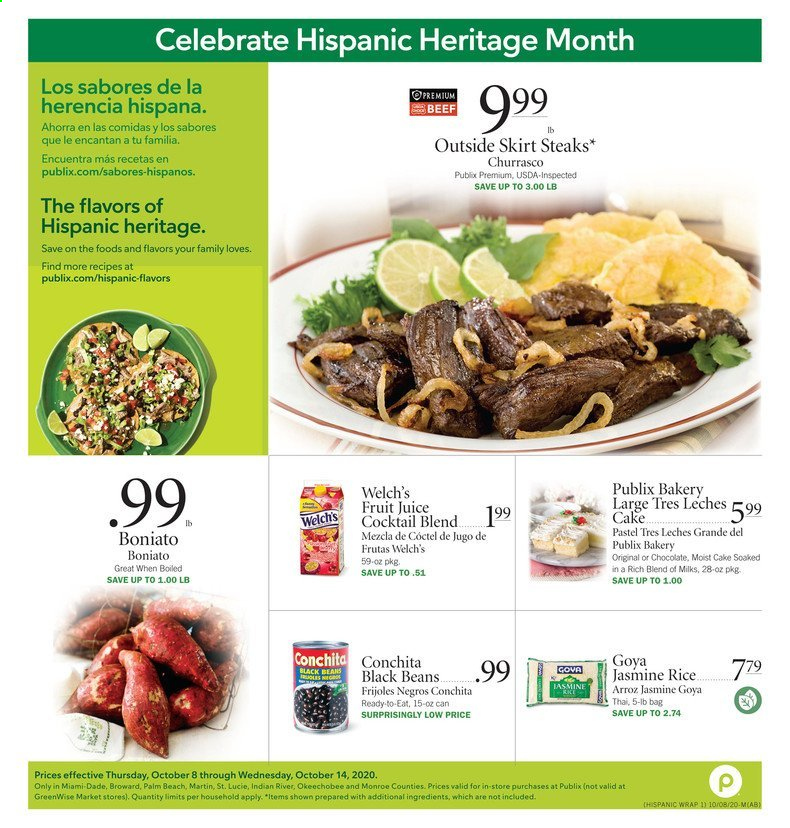 Publix Flyer - 10.08.2020 - 10.14.2020 - Sales products - bag, beans, beef meat, black beans, moist, rice, skirt, jasmine rice, juice, fruit juice, cake. Page 1.