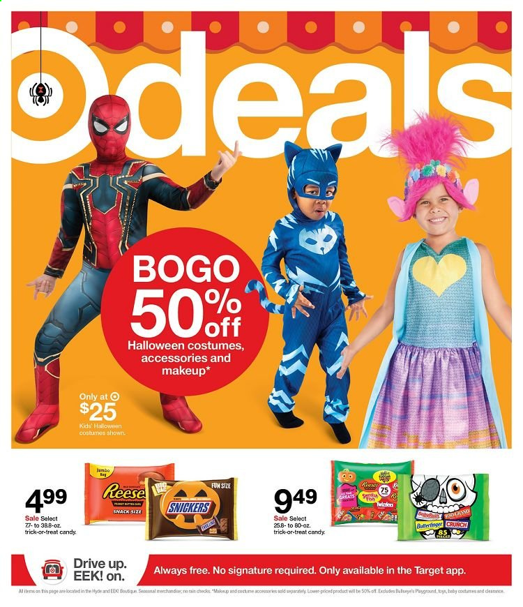 Target Flyer - 10.11.2020 - 10.17.2020 - Sales products - candy, Snickers, snack, makeup, toys. Page 1.
