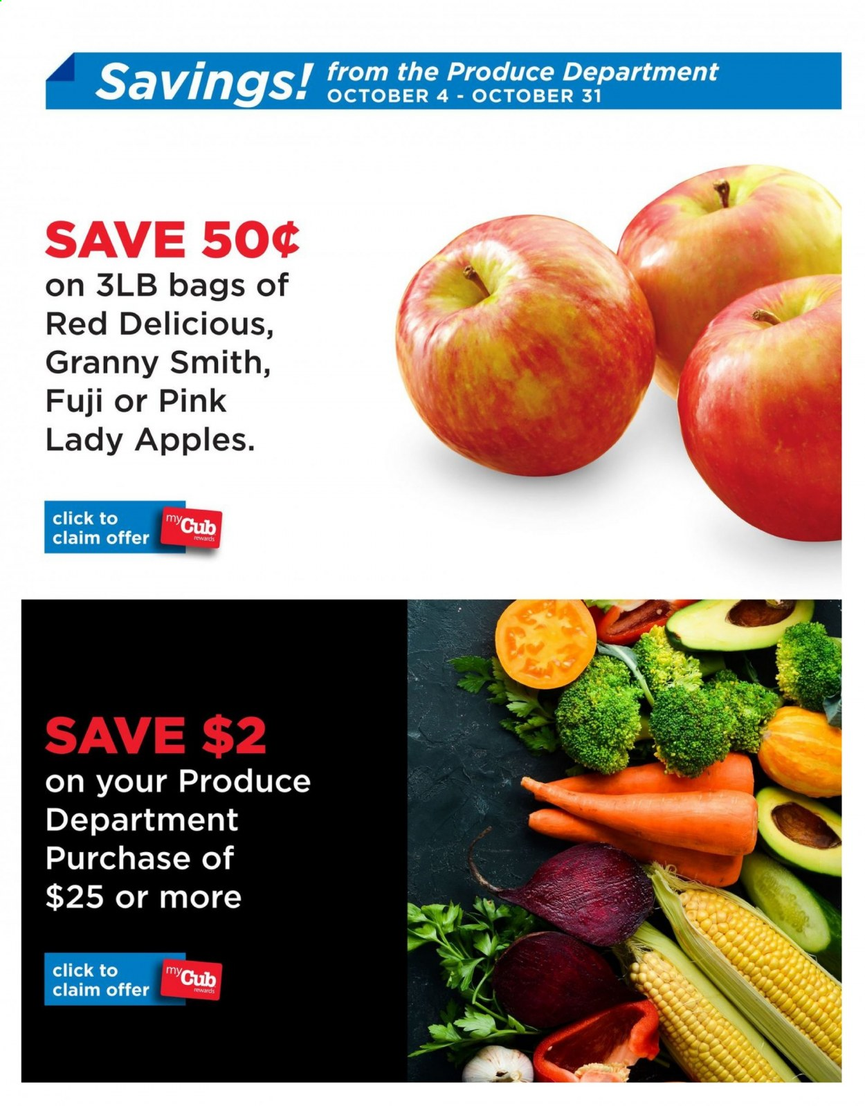 Cub Foods Flyer - 10.06.2020 - 10.31.2020 - Sales products - apples, red delicious, apple, red delicious apples. Page 1.