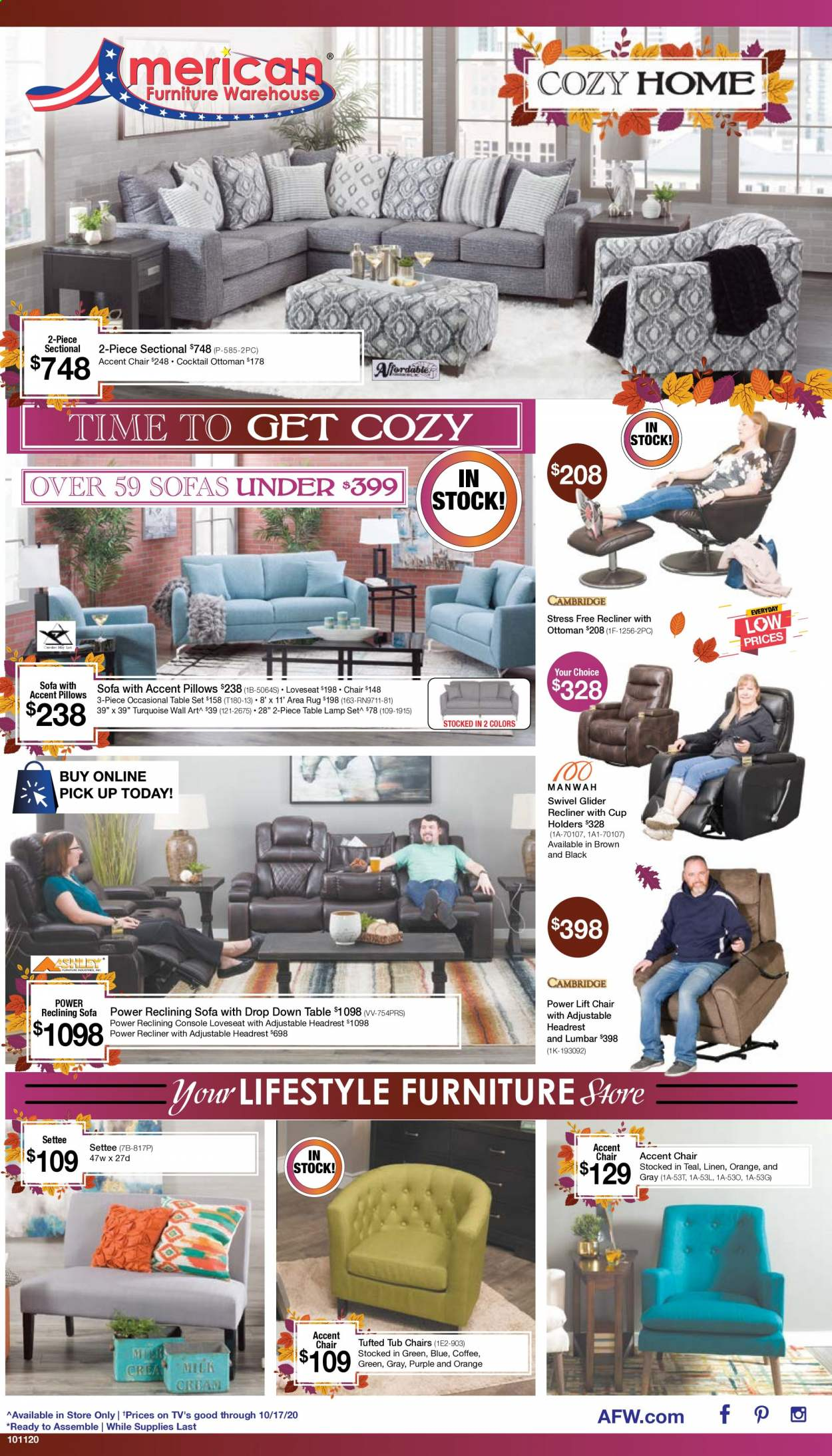 American Furniture Warehouse Flyer - 10.11.2020 - 10.17.2020 - Sales products - 2-piece sectional, accent chair, coffee, Furniture, lamp, loveseat, sofa, table set, chair, pillow, orange, ottoman, tub, area rug, table lamp. Page 1.