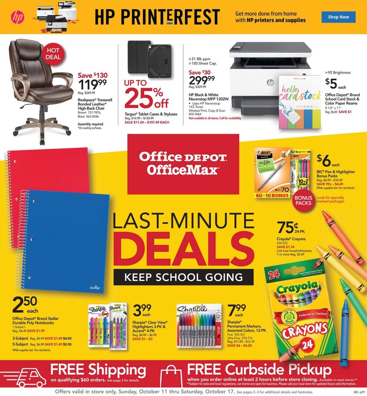 Office DEPOT Flyer - 10.11.2020 - 10.17.2020 - Sales products - bic, cap, crayola crayons, sheet, tablet, toner, hp, chair, wireless, pen. Page 1.